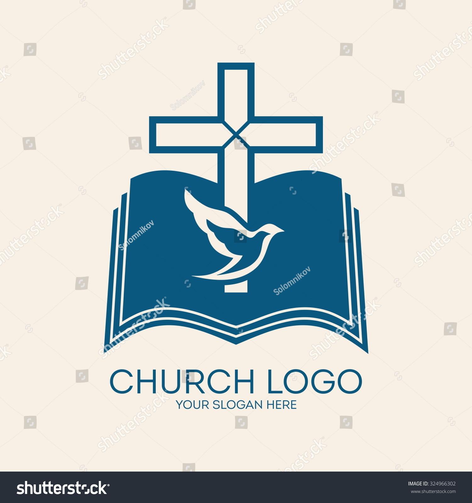 church logo cross open bible dove stock vector 324966302