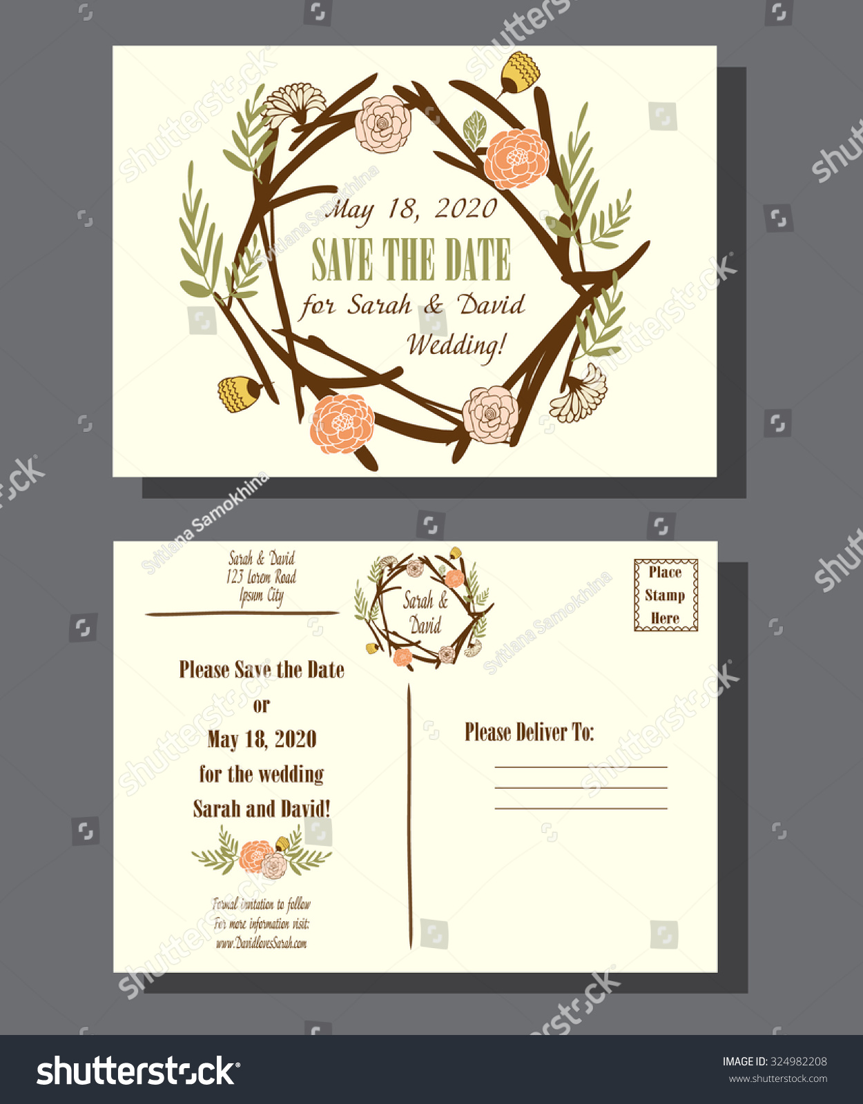 Wedding Invitation Envelope Bohemian Style Vintage Stock Vector HD ...