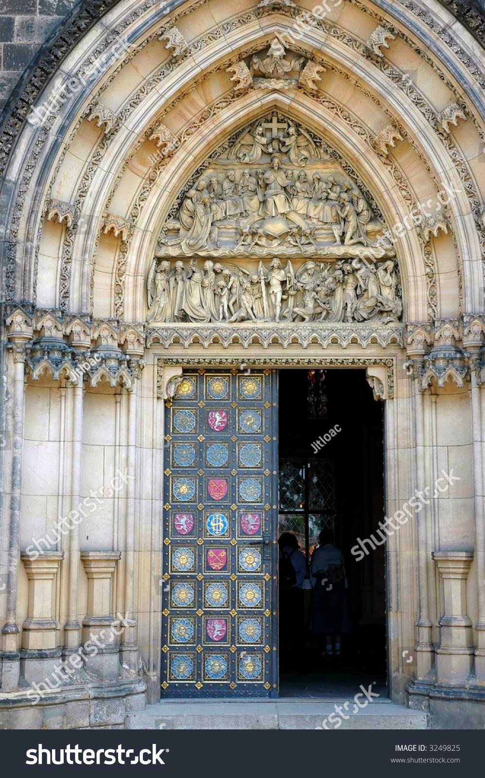 Massive gothic portal with open doors in prague stock for Door z prague