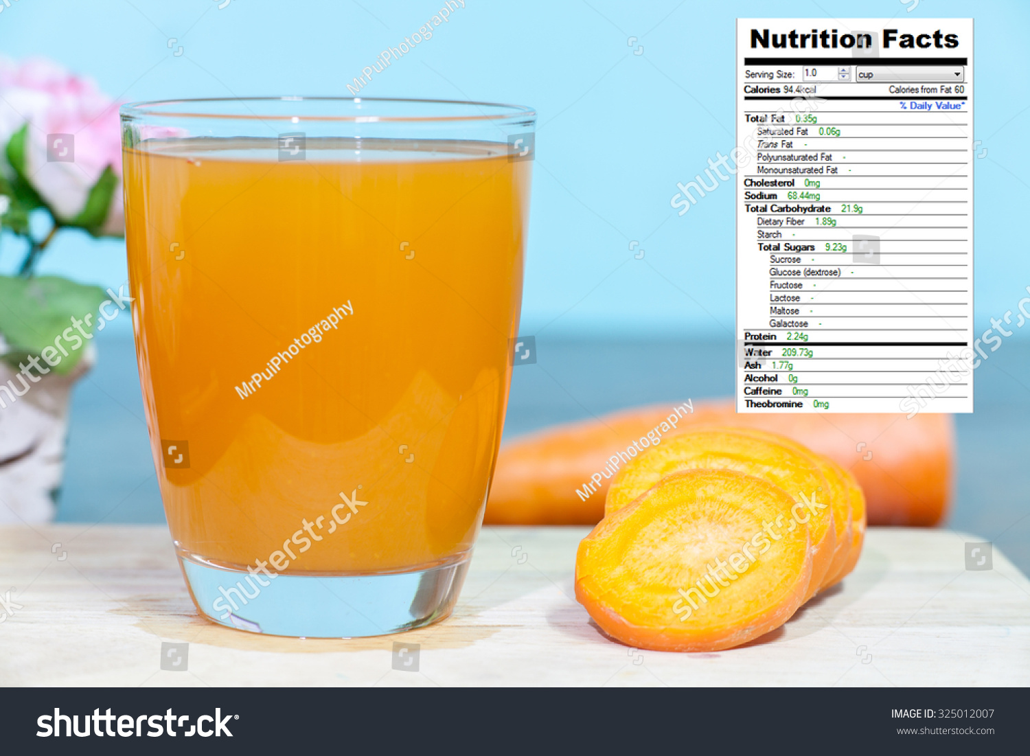 Carrot Juice Nutrition Facts Stock Photo Edit Now 325012007