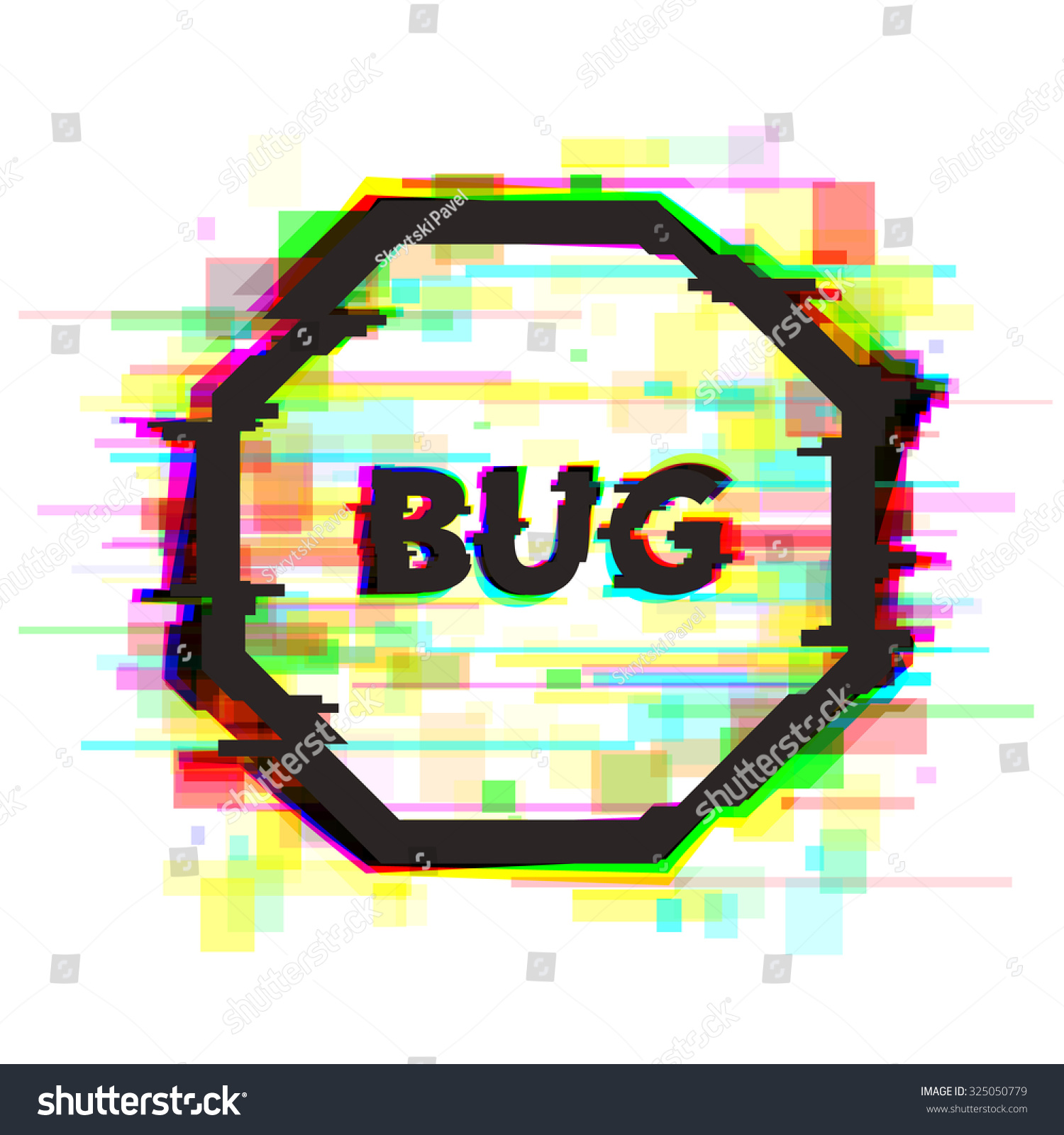 Isolated Symbol Glitch Effect Bug Text Stock Vector Royalty Free