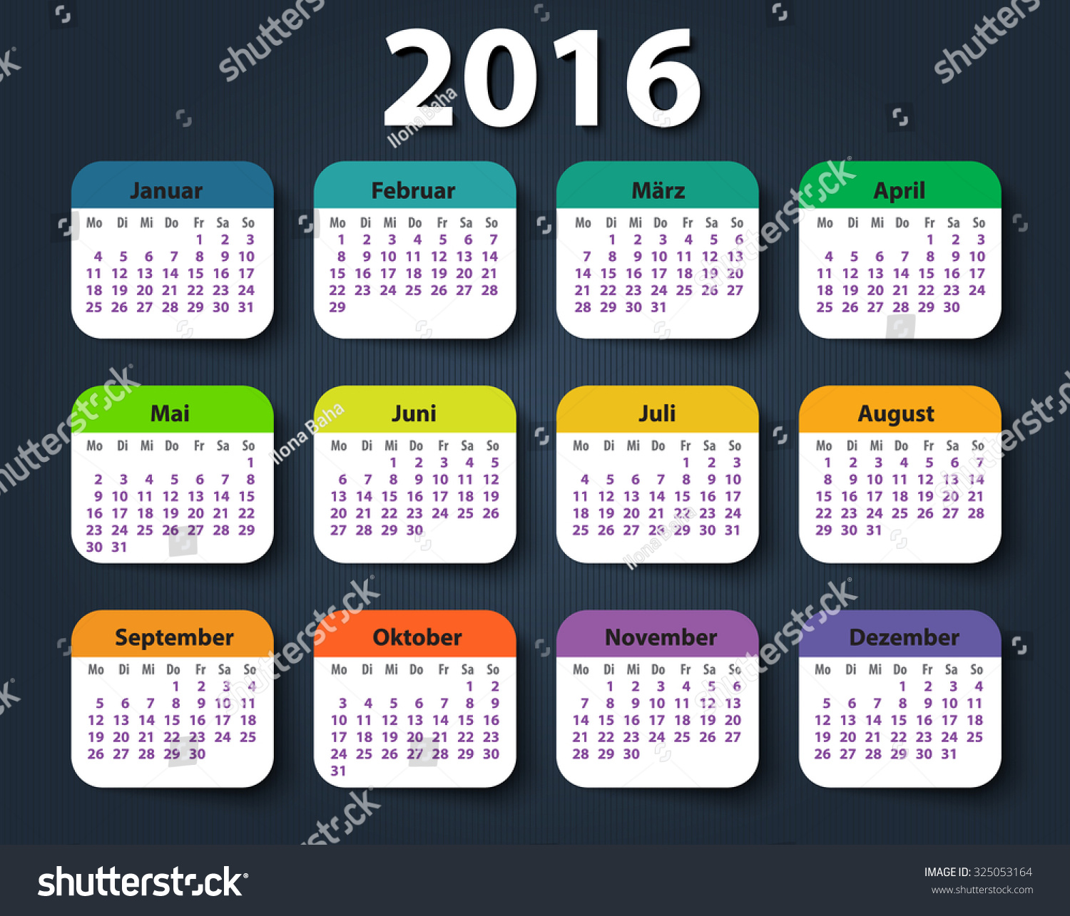 Year Calendar Starting : Calendar year german week starting stock vector