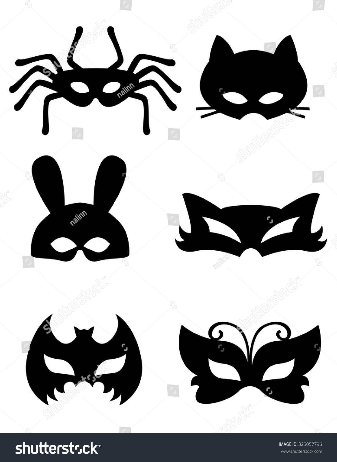 collection animal masks animal faces ready stock illustration