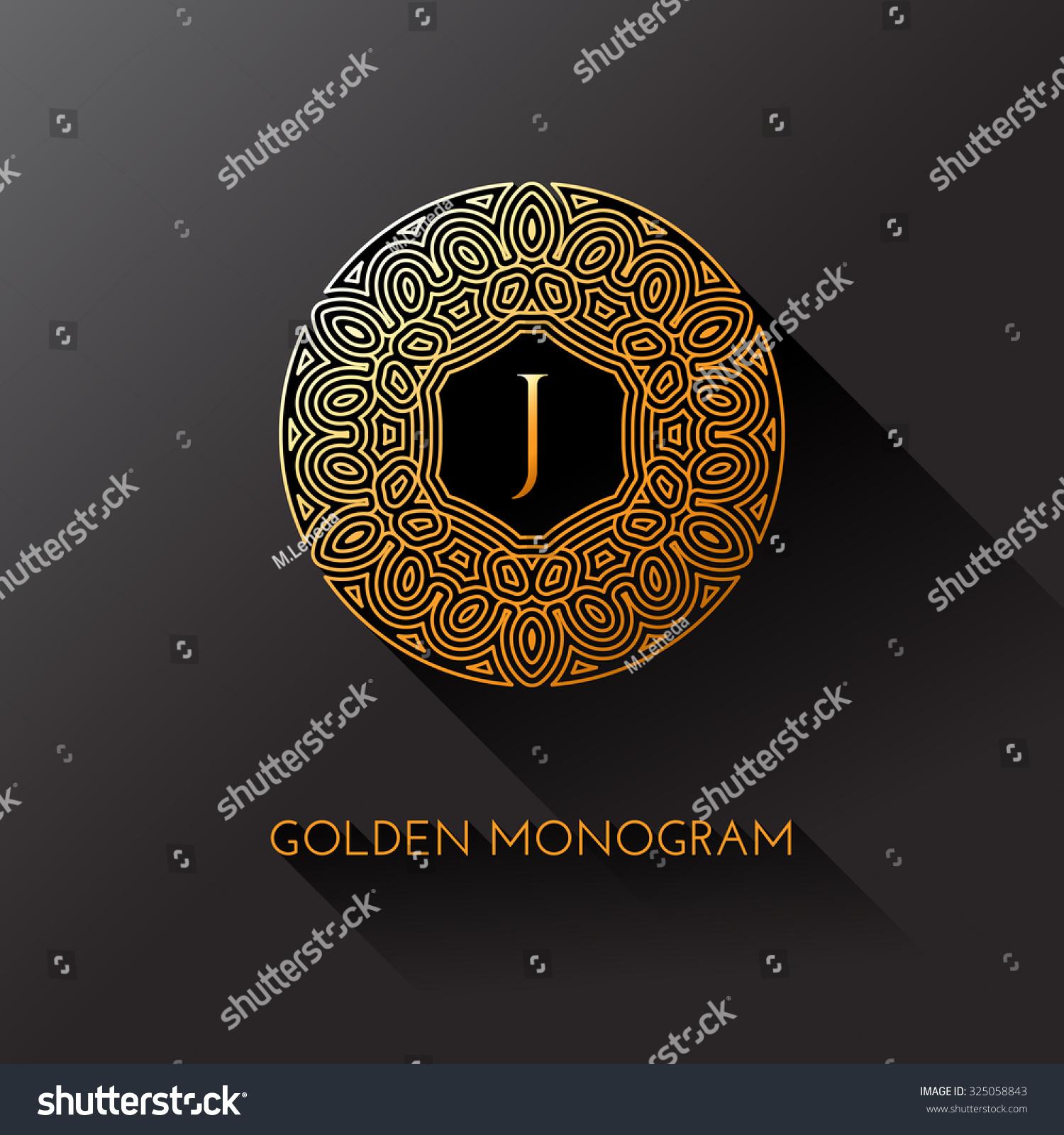 Tj initial luxury ornament monogram logo stock vector - Golden Elegant Monogram With Letter J Template Design For Monogram Label Logo