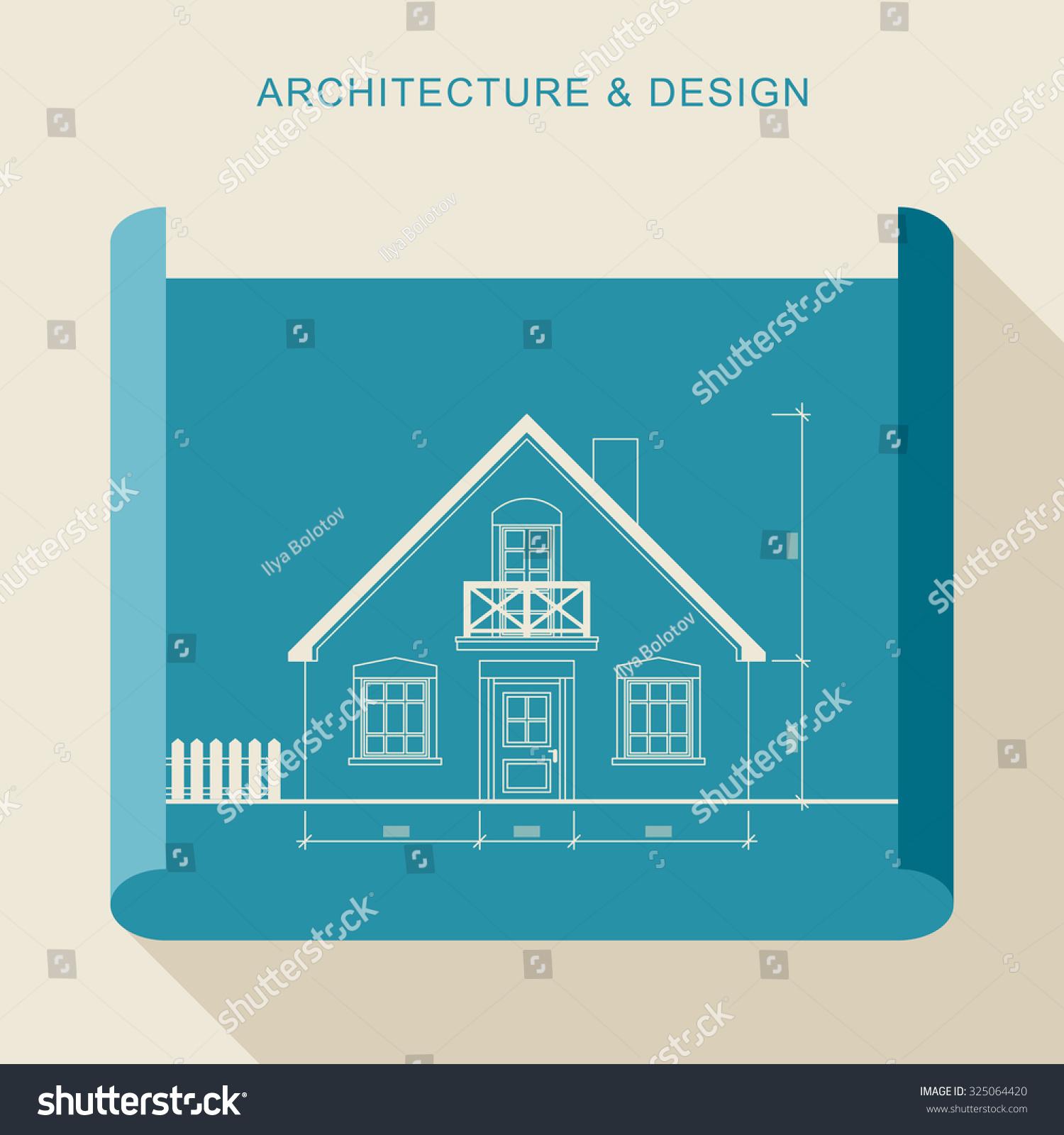 Architecture design simple flat illustration architectural for Flat architecture design