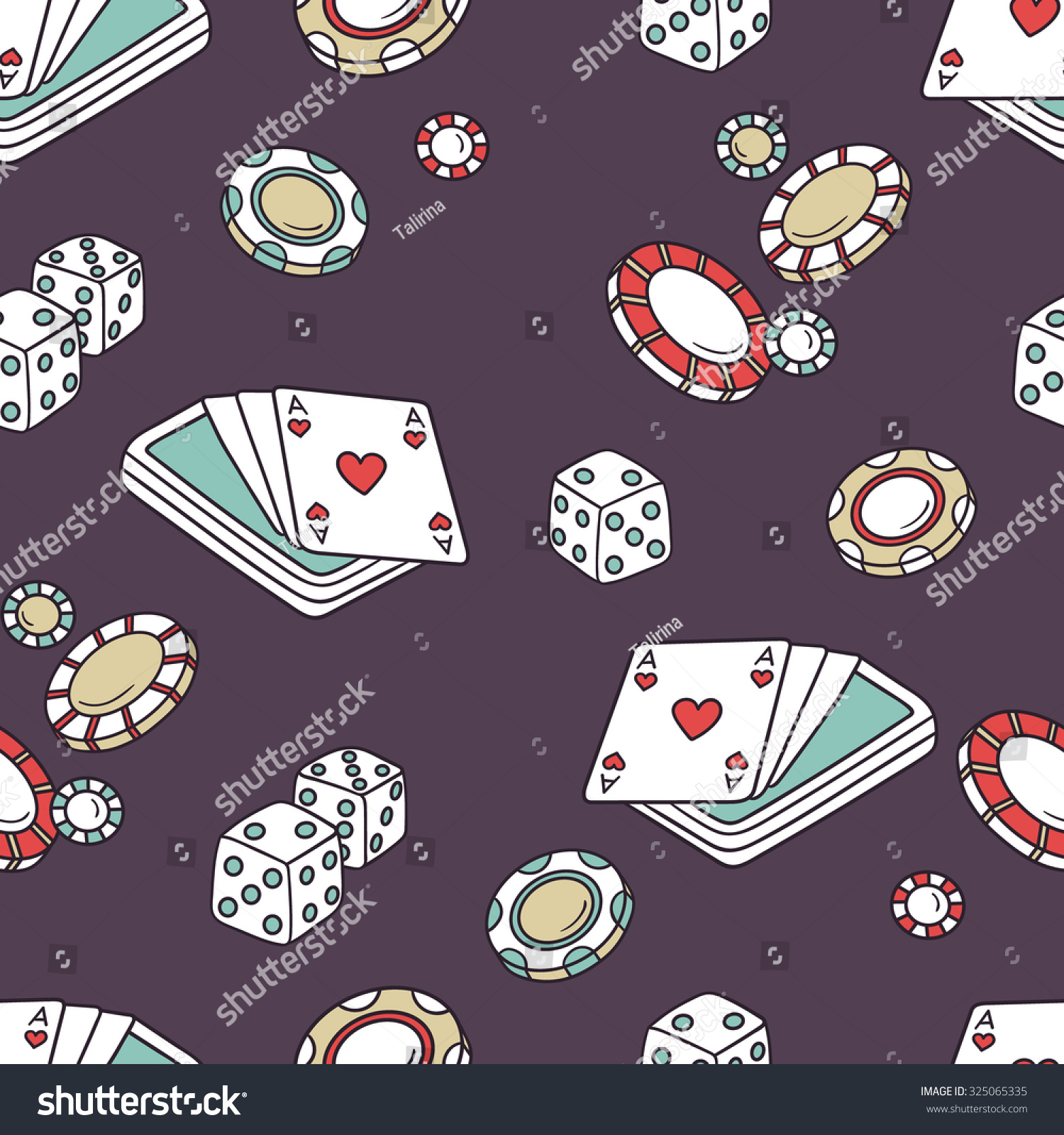 Playing Chips Cards Seamless Pattern Doodle Stock Vector Royalty