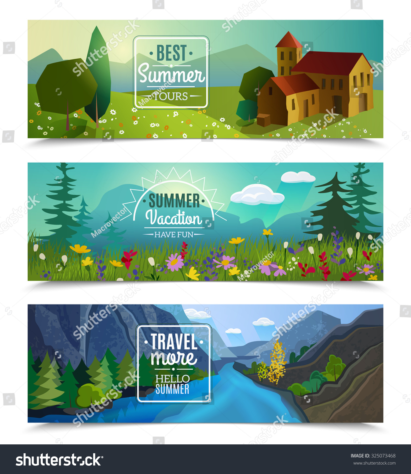 Best Tours For Summer Vacation Travel Agency Advertisement 3 Horizontal Landscape Banners Set Abstract Isolated Illustration