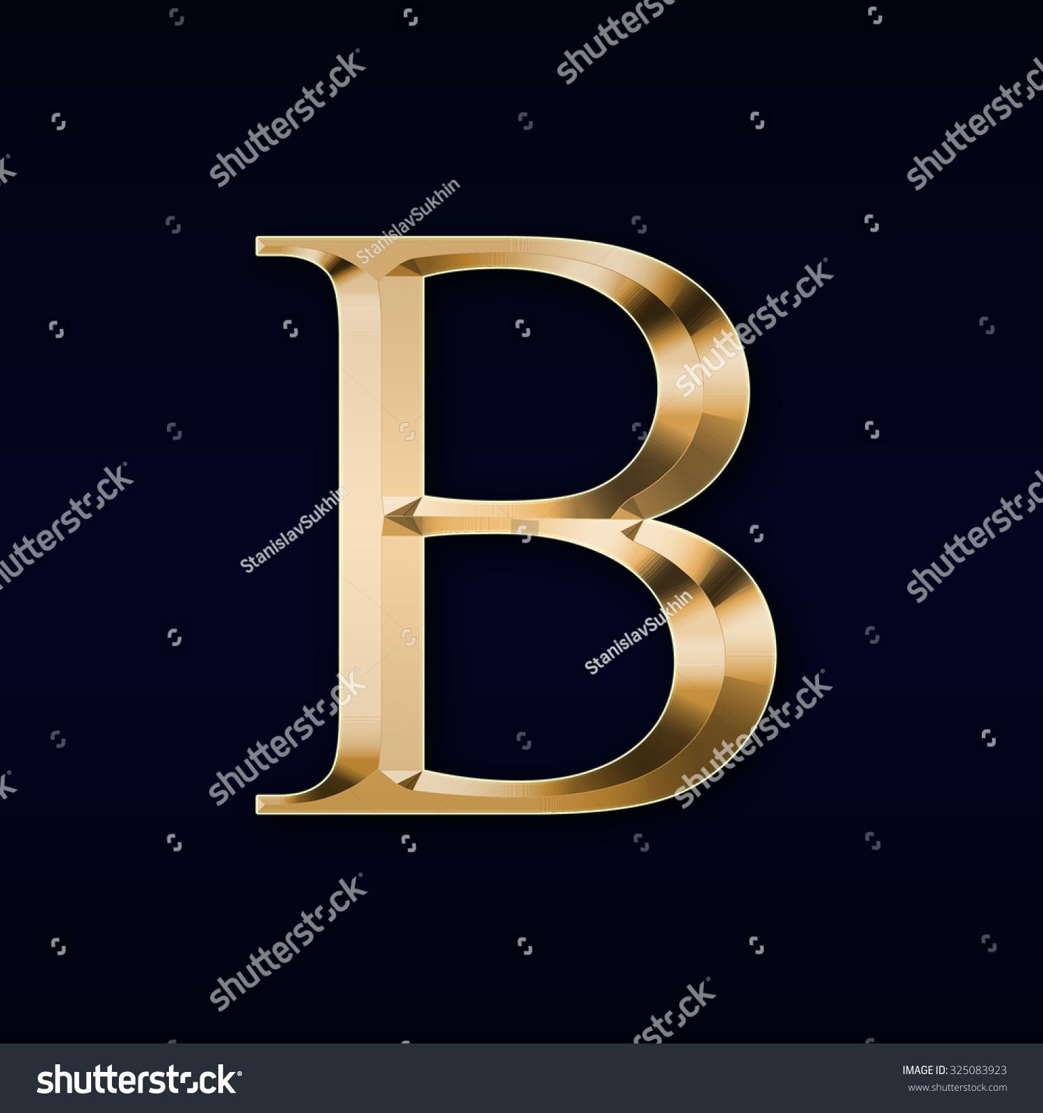 Gold Letter B On Black Background Stock Illustration ...