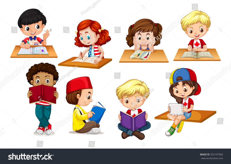 Children Reading Stock Vector Art More Images Of Baby: Children Reading Writing Illustration Stock Vector