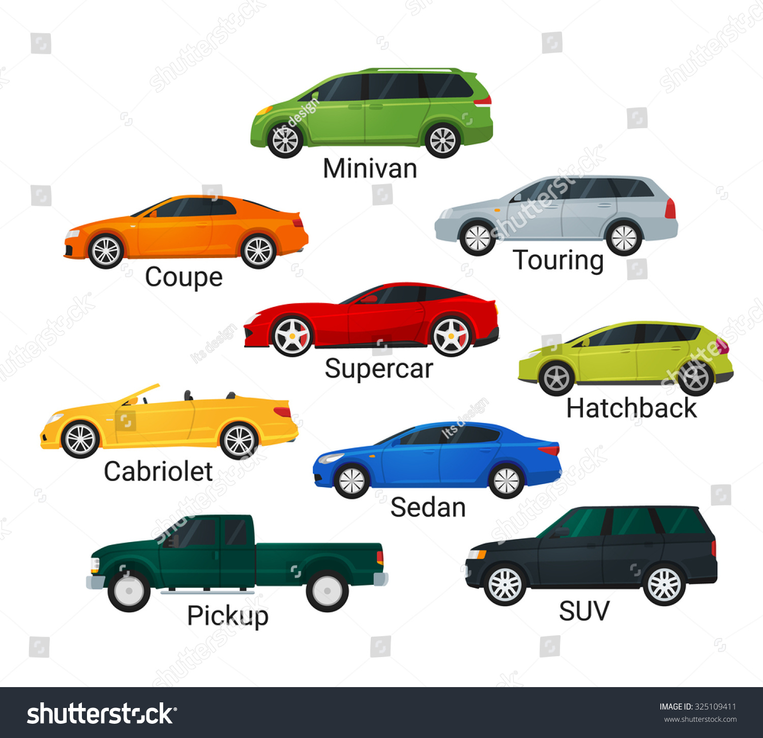 different car types icons flat style stock illustration 325109411 shutterstock. Black Bedroom Furniture Sets. Home Design Ideas