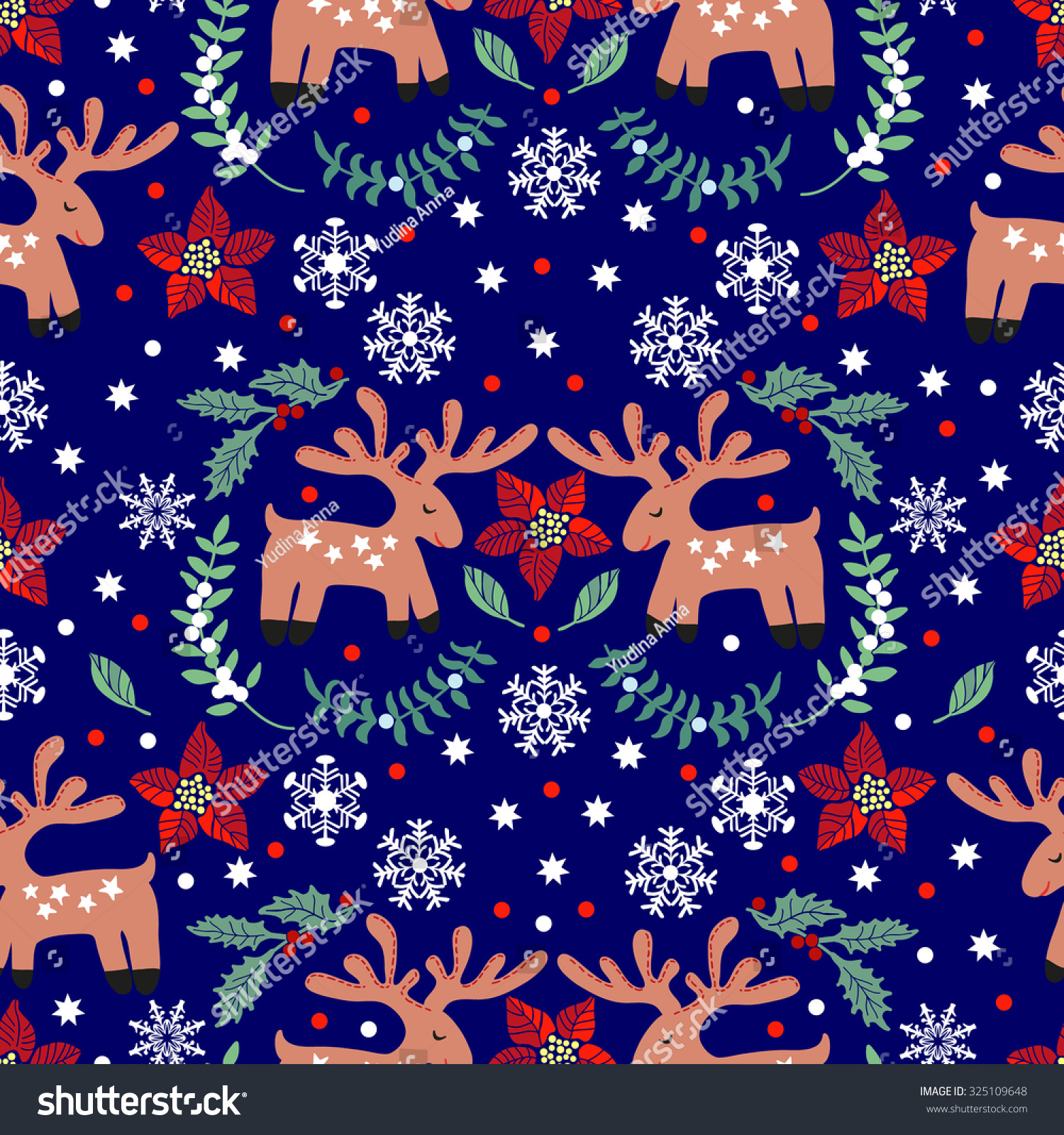 Pattern Funny Christmas Deer Hand Drawing Stock Vector (Royalty Free ...