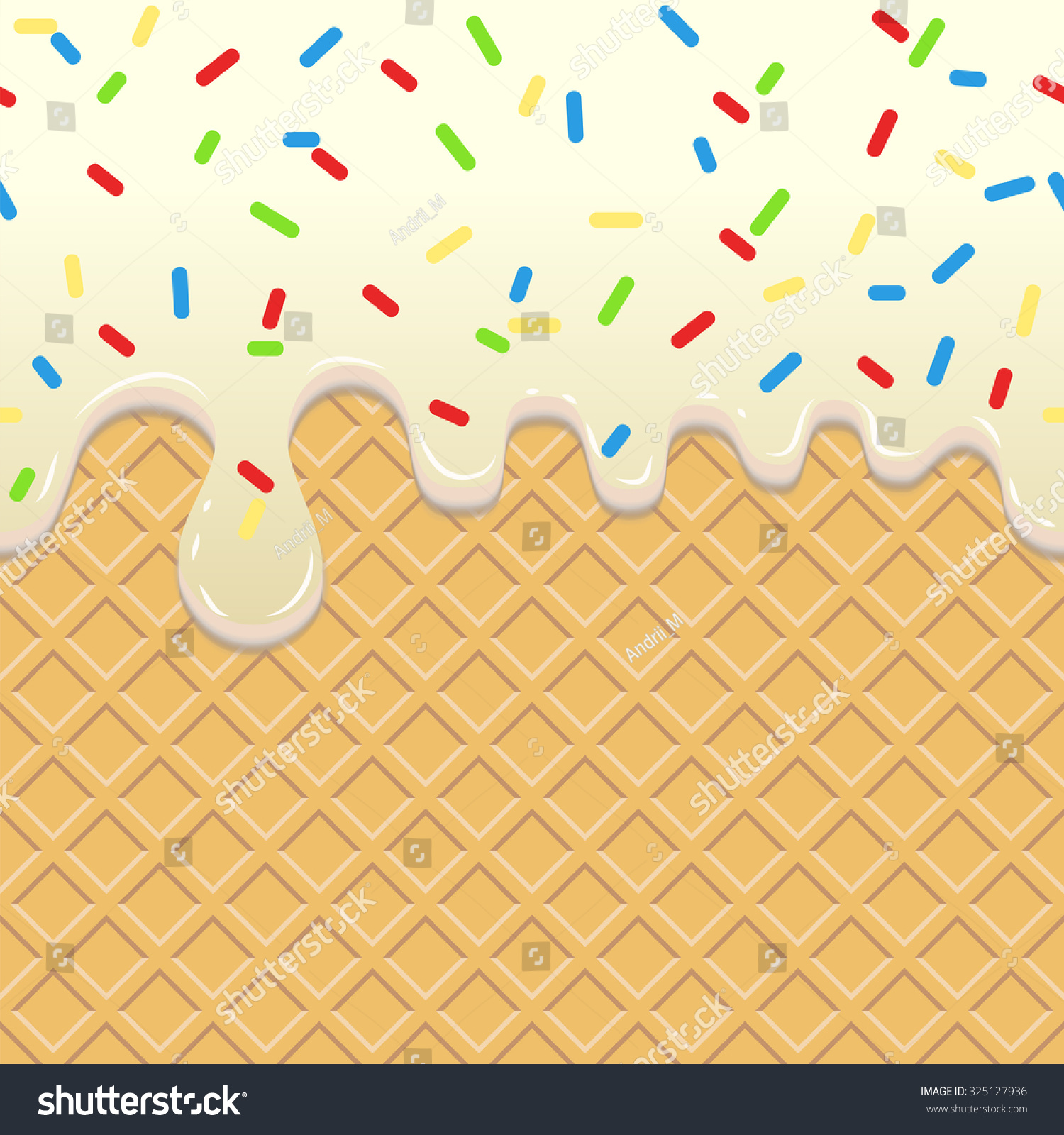 Seamless Ice Cream Background: Flowing Ice Cream Seamless Food Background Stock Vector