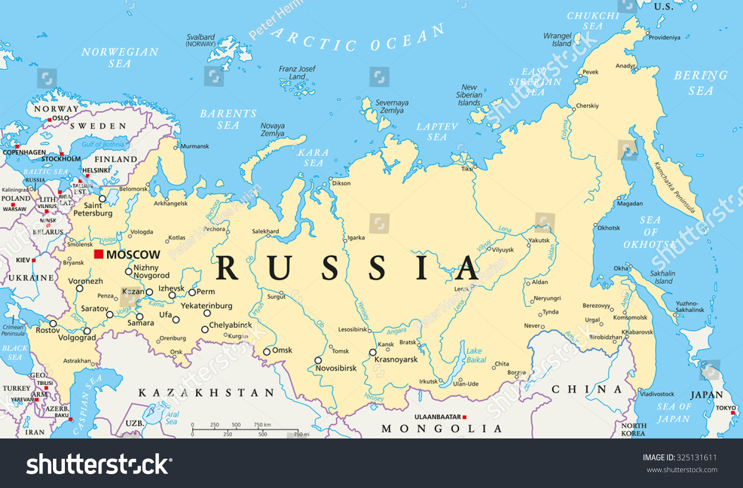 Russia political map with capital Moscow national