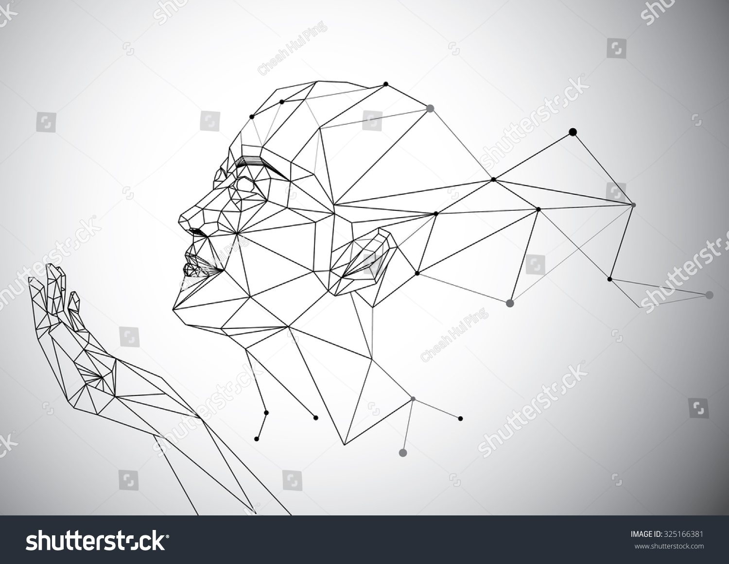 Line Art Portrait : Geometry polygon woman portrait stock photo vector
