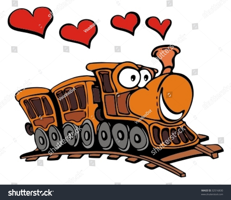 Blue Train Cartoon Stock Vector Funny Cartoon Train With Love Hearts