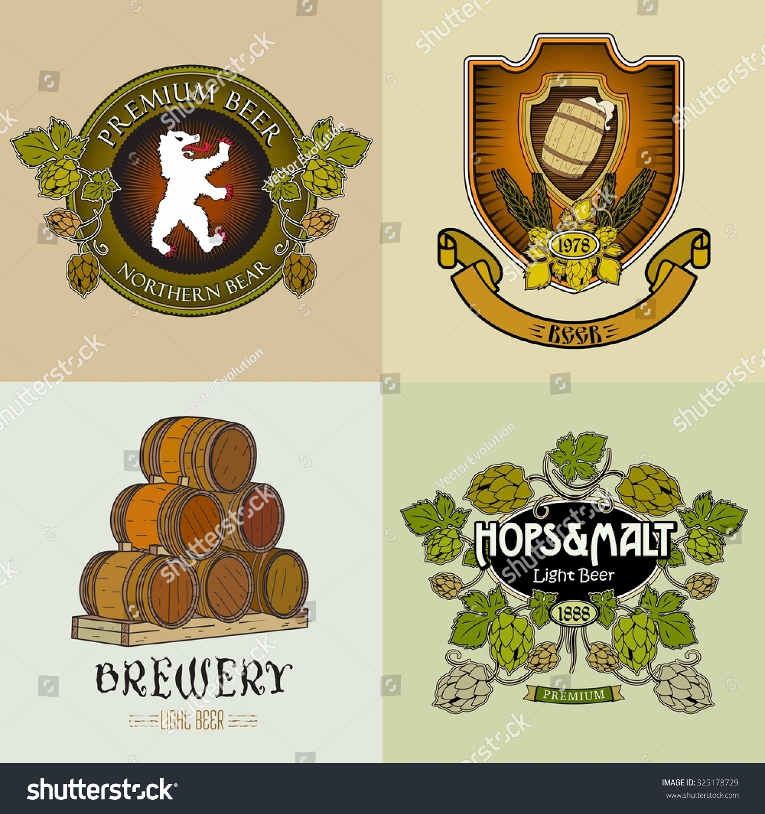 Retro craft brewery logos labels stickers stock vector royalty free
