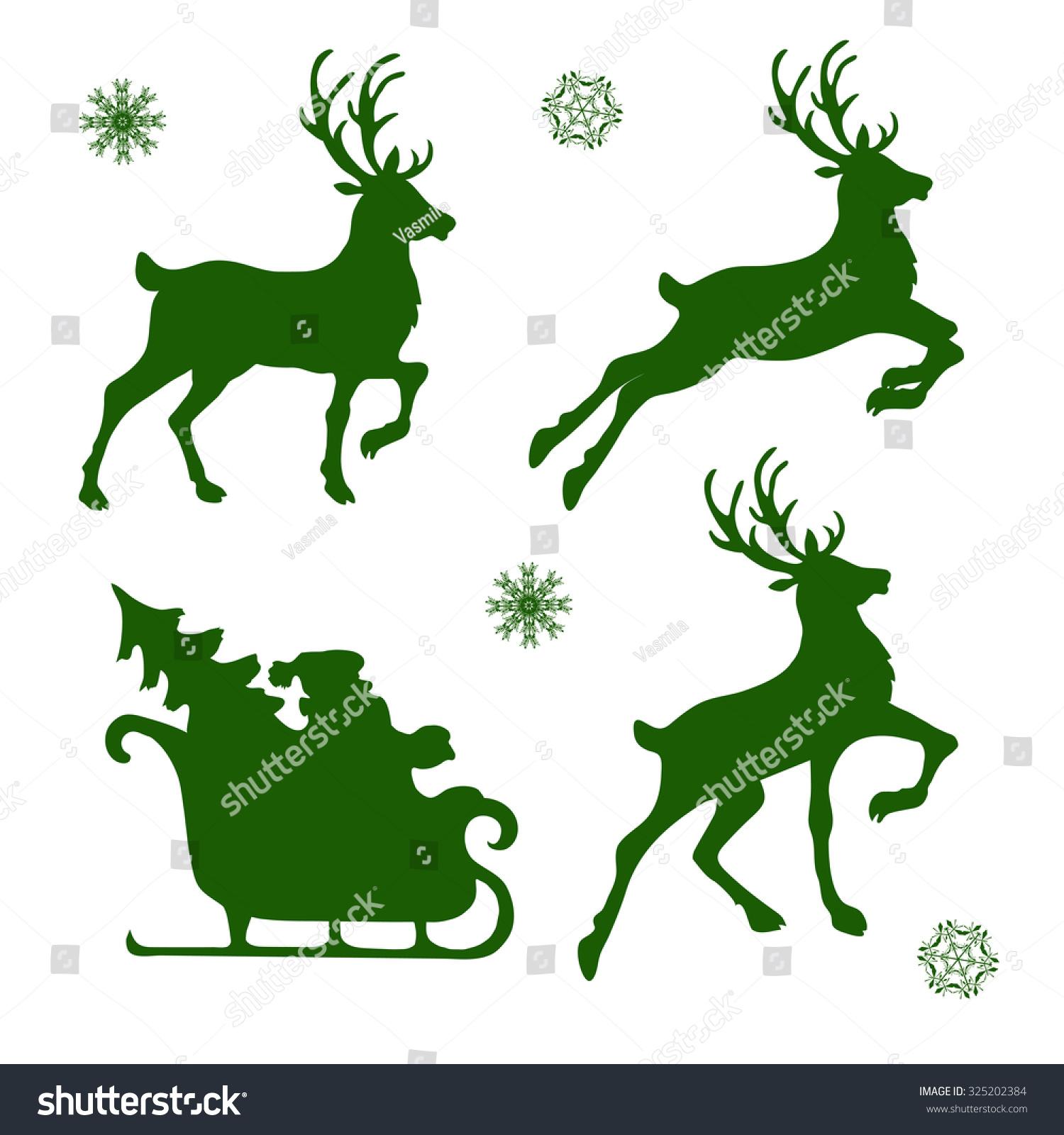 Set Silhouettes Christmas Reindeer Santa Vector Stock Vector ...