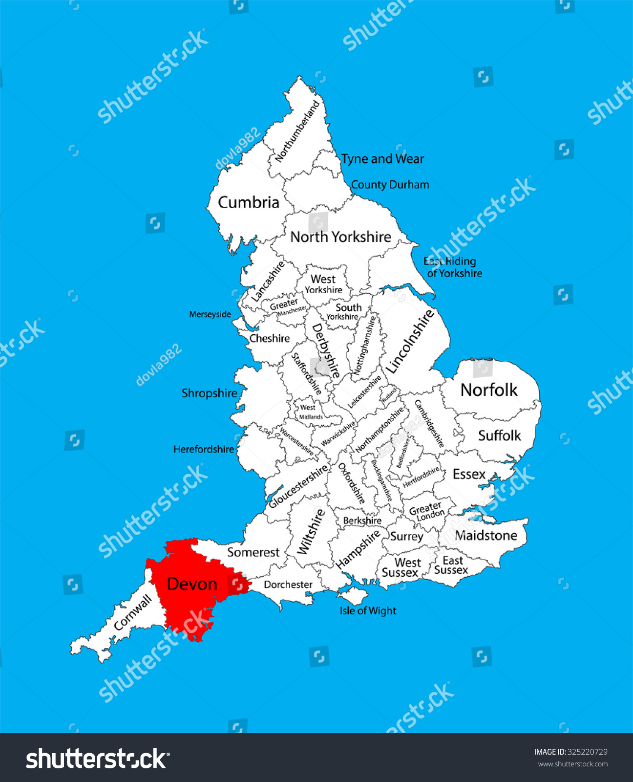 Map Of The South West Of England.Vector Map Devon South West England Stock Vector Royalty Free