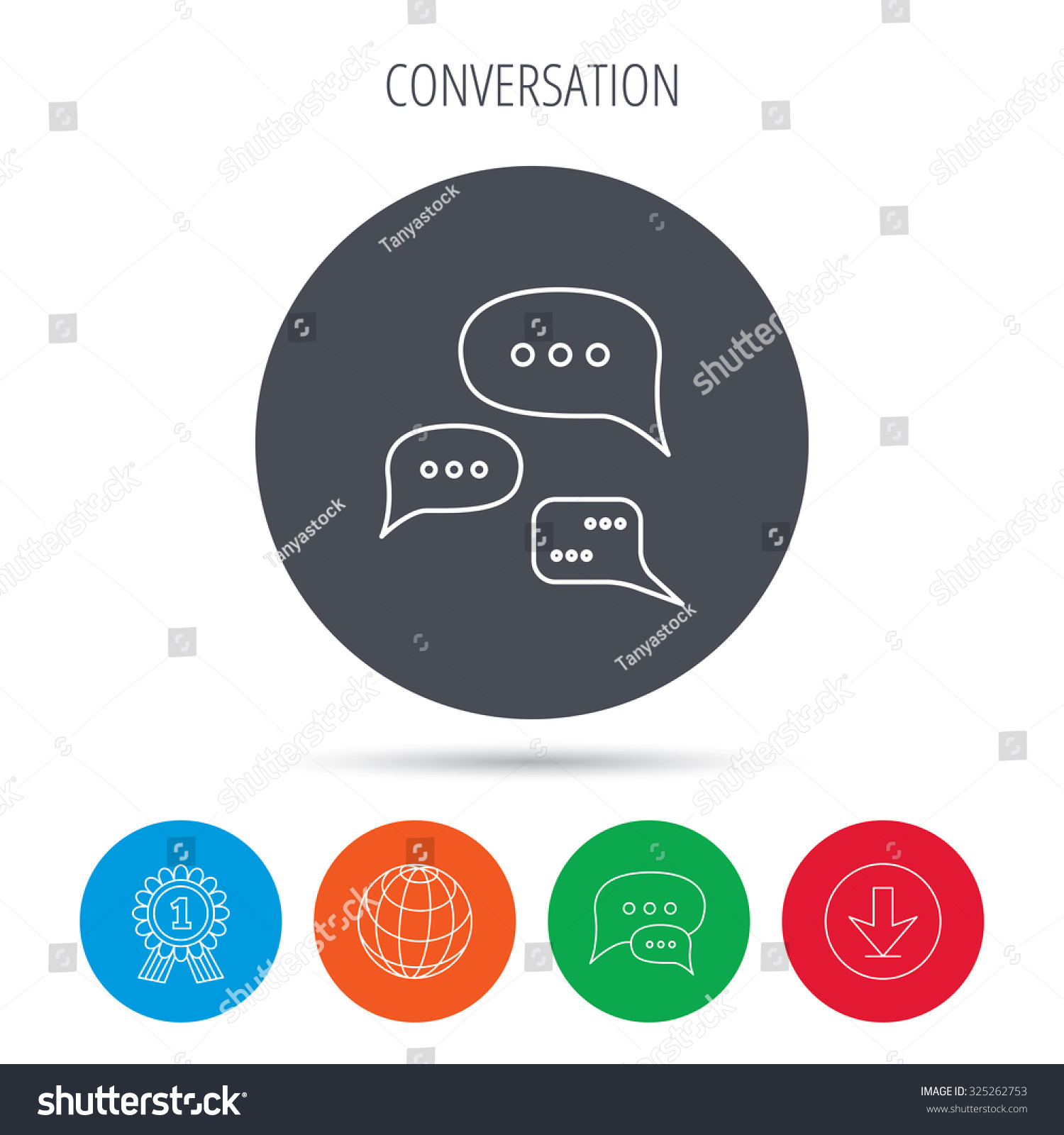 Conversation Icon Chat Speech Bubbles Sign Stock Vector Royalty
