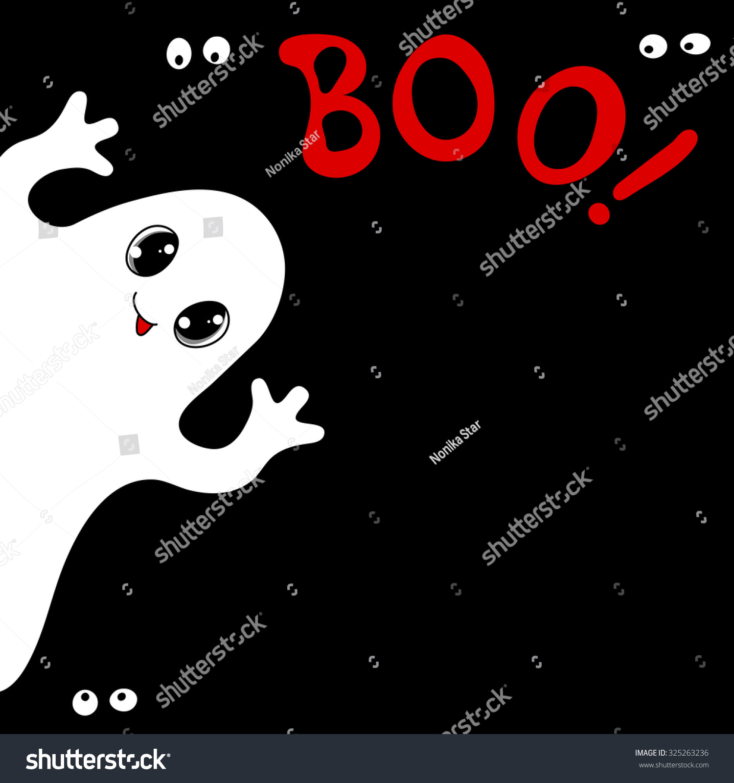 Halloween Card Cute Ghost Spiders Text Stock Vector Royalty Free
