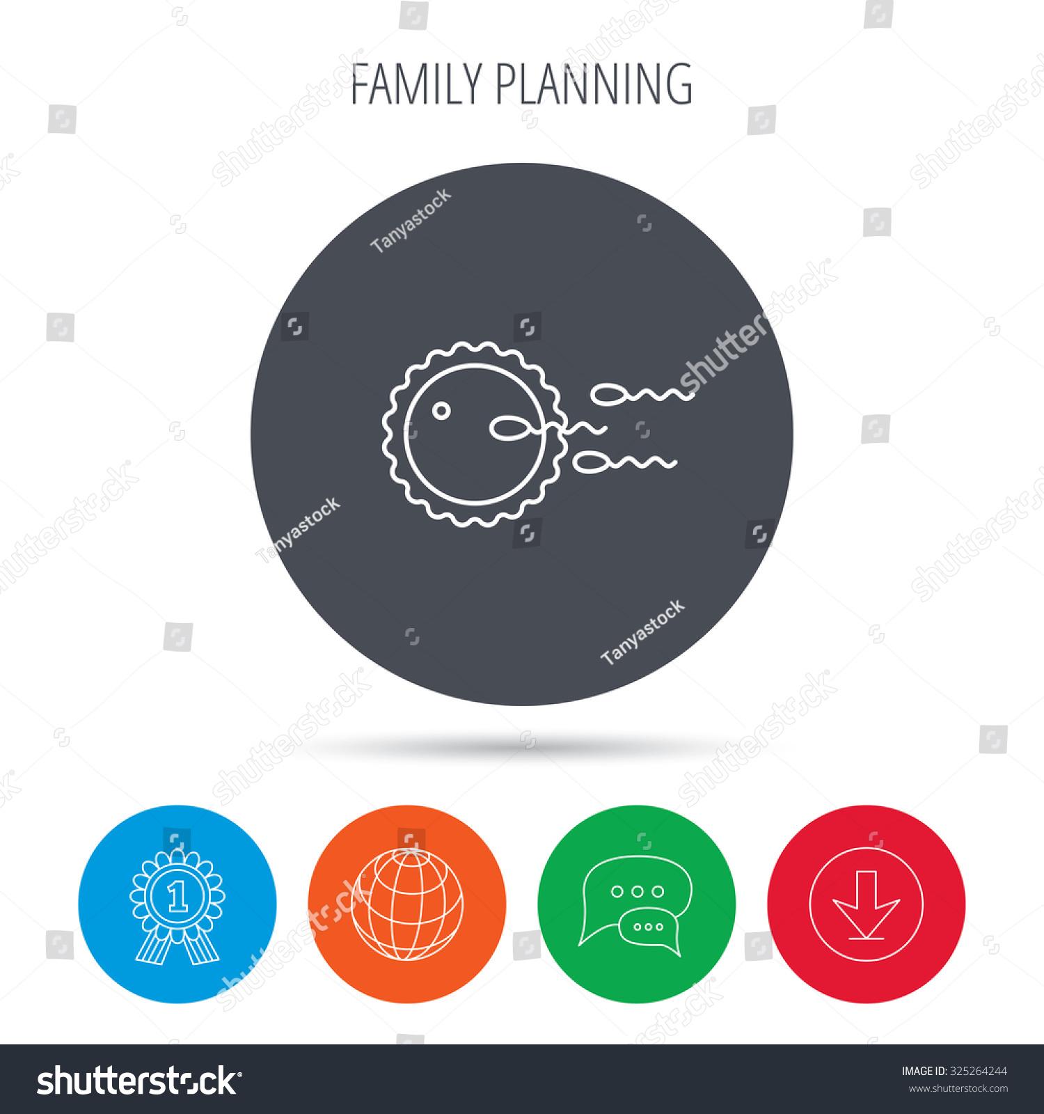 Family Planning Icon Fertilization Sign Globe Stock Vector 325264244