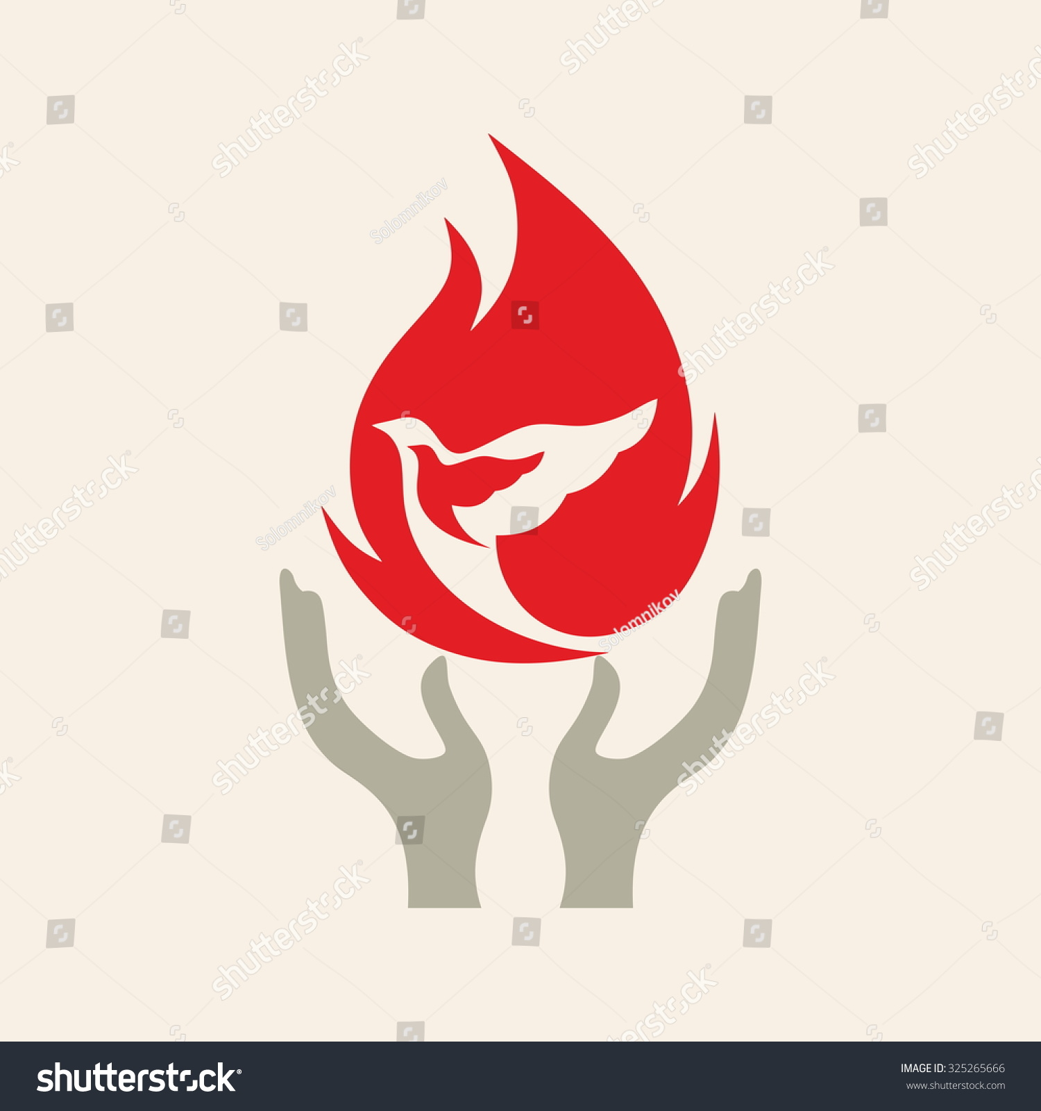 Church logo Dove in flames hands