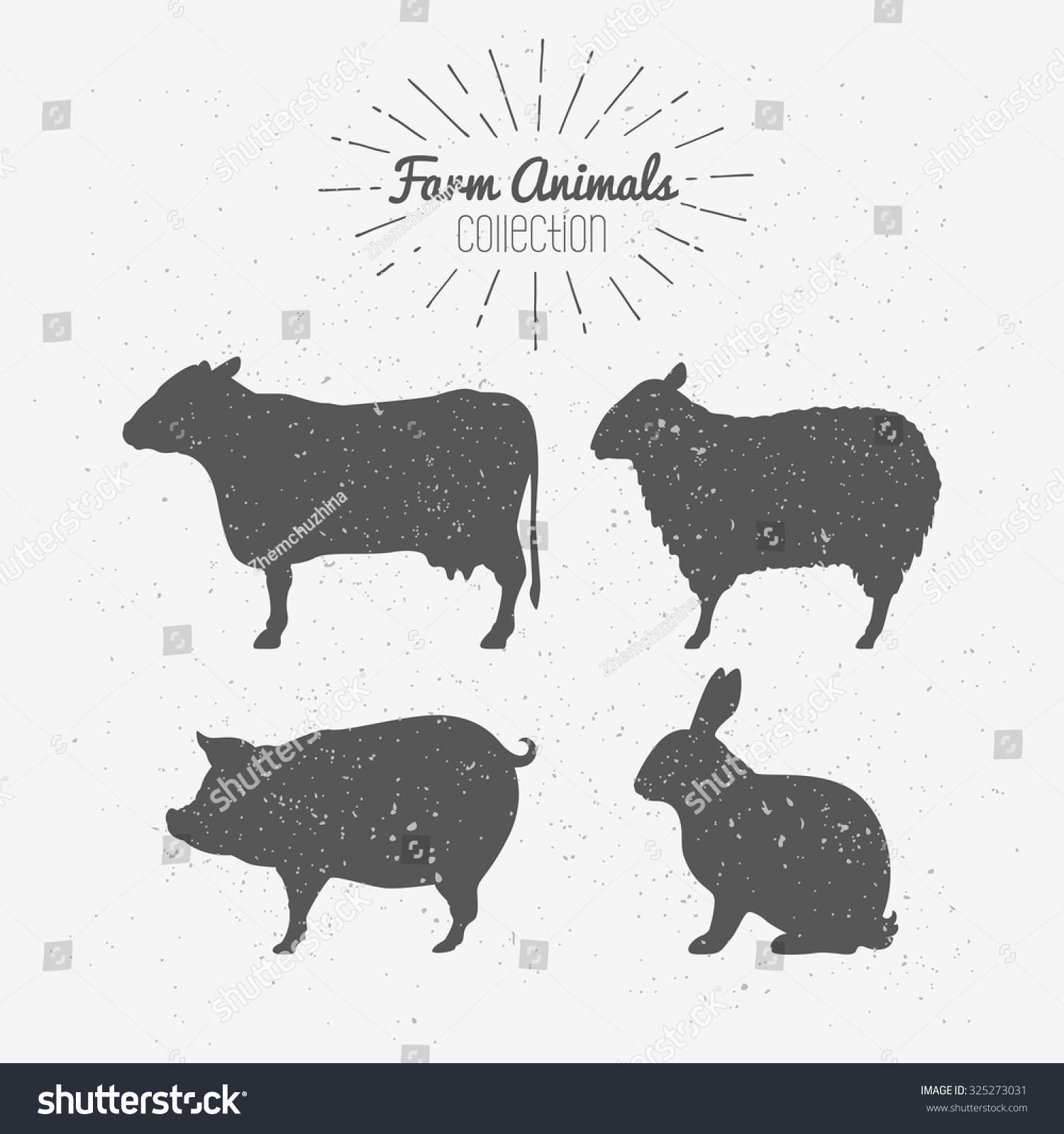 Set Farm Animals Silhouettes Beef Lamb Stock Vector (Royalty Free ...