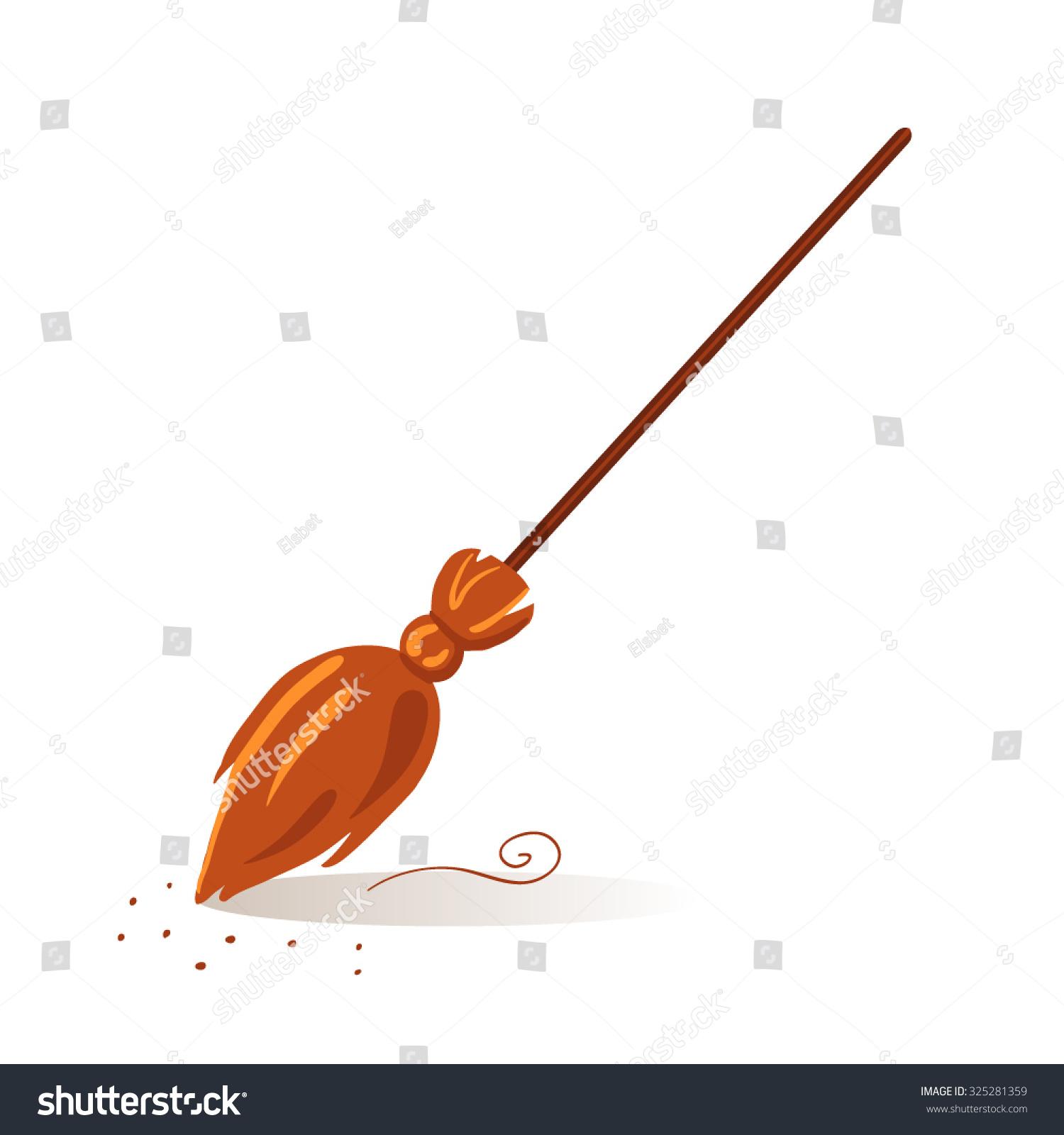 Old Broom Sweep Floor. Vector Illustration