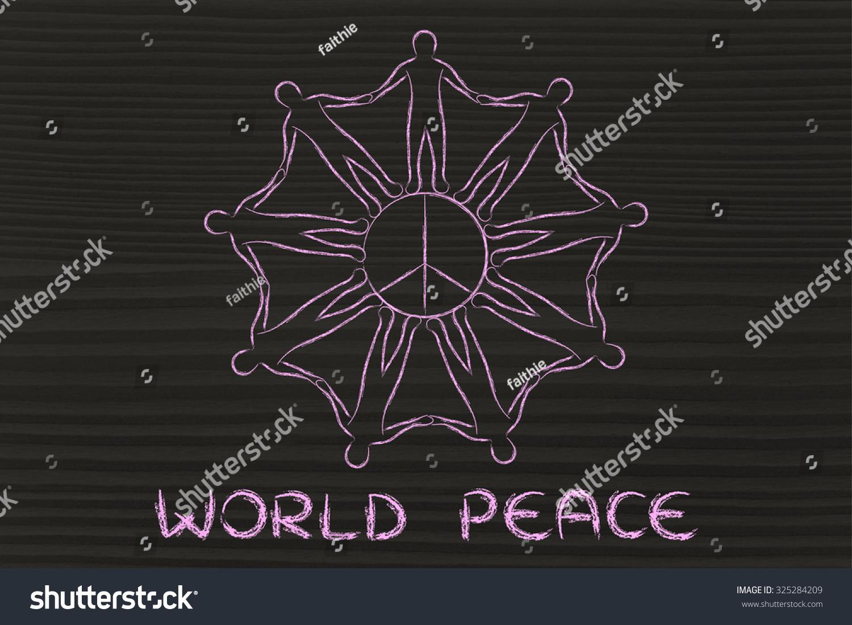 World Peace People Holding Hands Around Stock Illustration 325284209