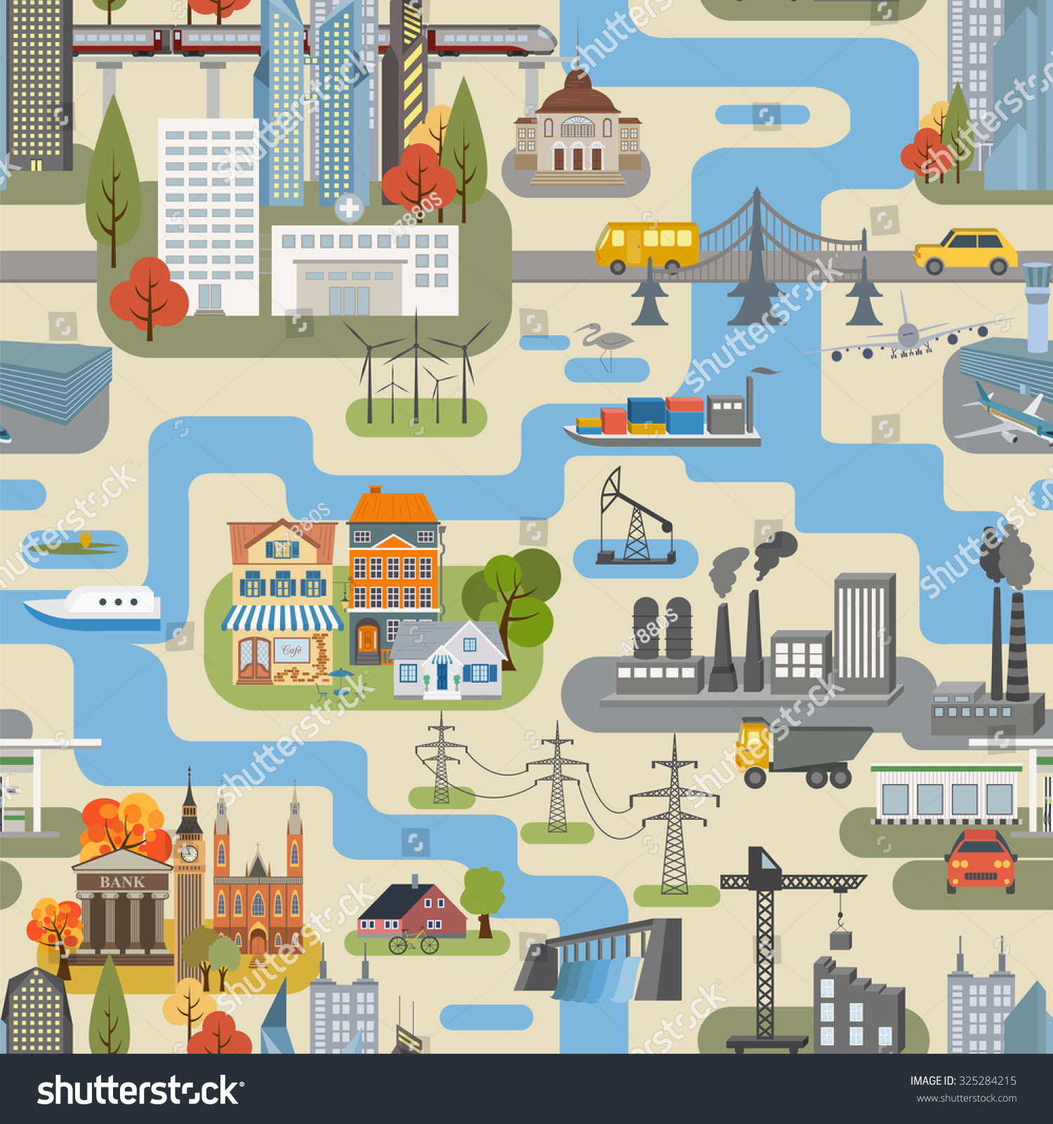 Great city map creatorseamless pattern map stock vector Create a map online free