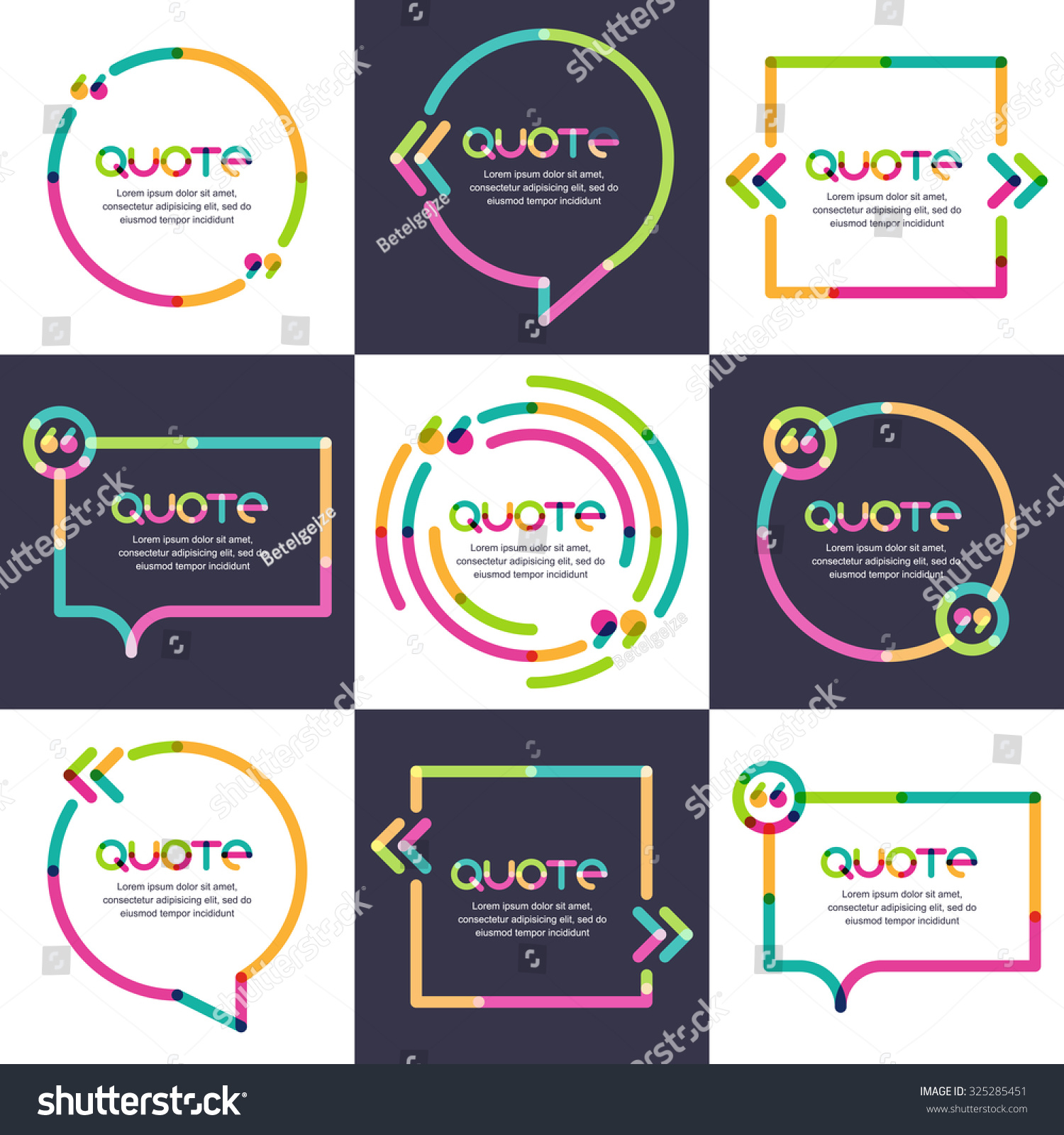 vector set quote forms template multicolor stock vector 325285451 vector set of quote forms template multicolor trendy background blank overlapping colorful speech bubbles