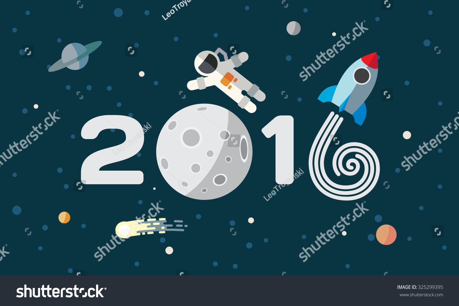 happy new year flat space theme illustration for calendar the astronaut and rocket on