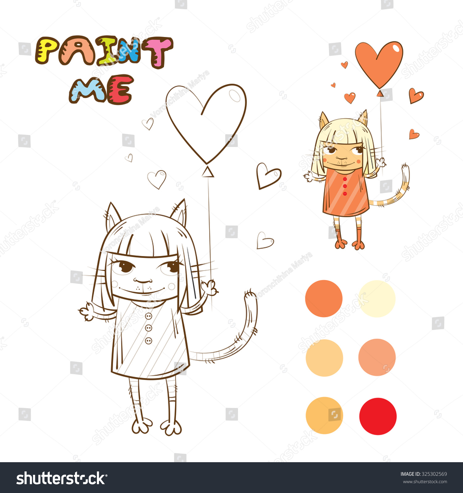Coloring Book With Girl Cat In A Dress And Ballon