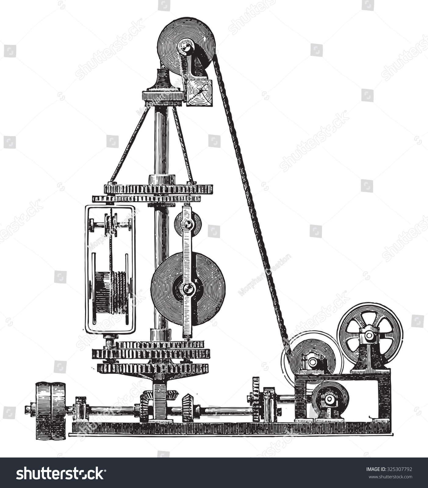Machine Wire Vintage Engraved Illustration Industrial Stock Machines Wiring Diagram Wires Encyclopedia E O Lami