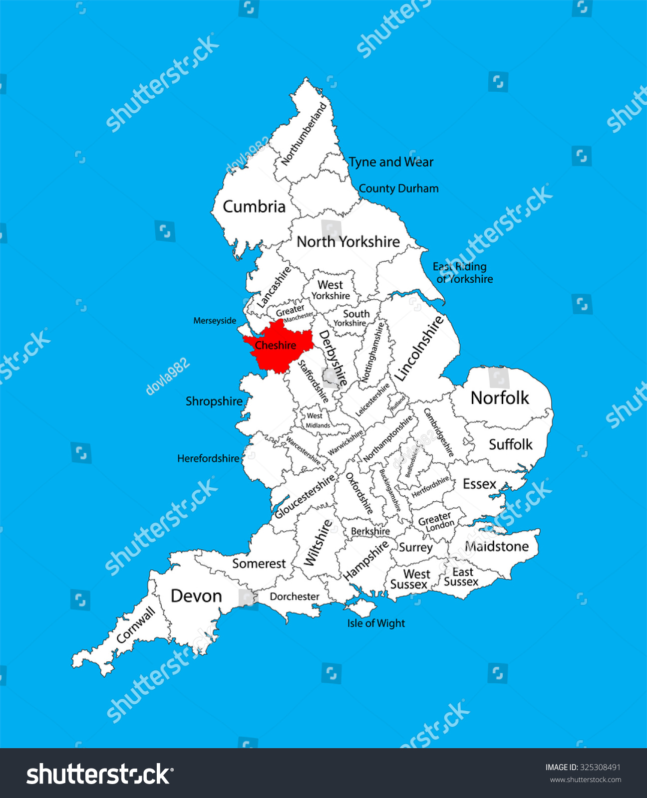 Vector Map Cheshire North West England Stock Vector (Royalty Free