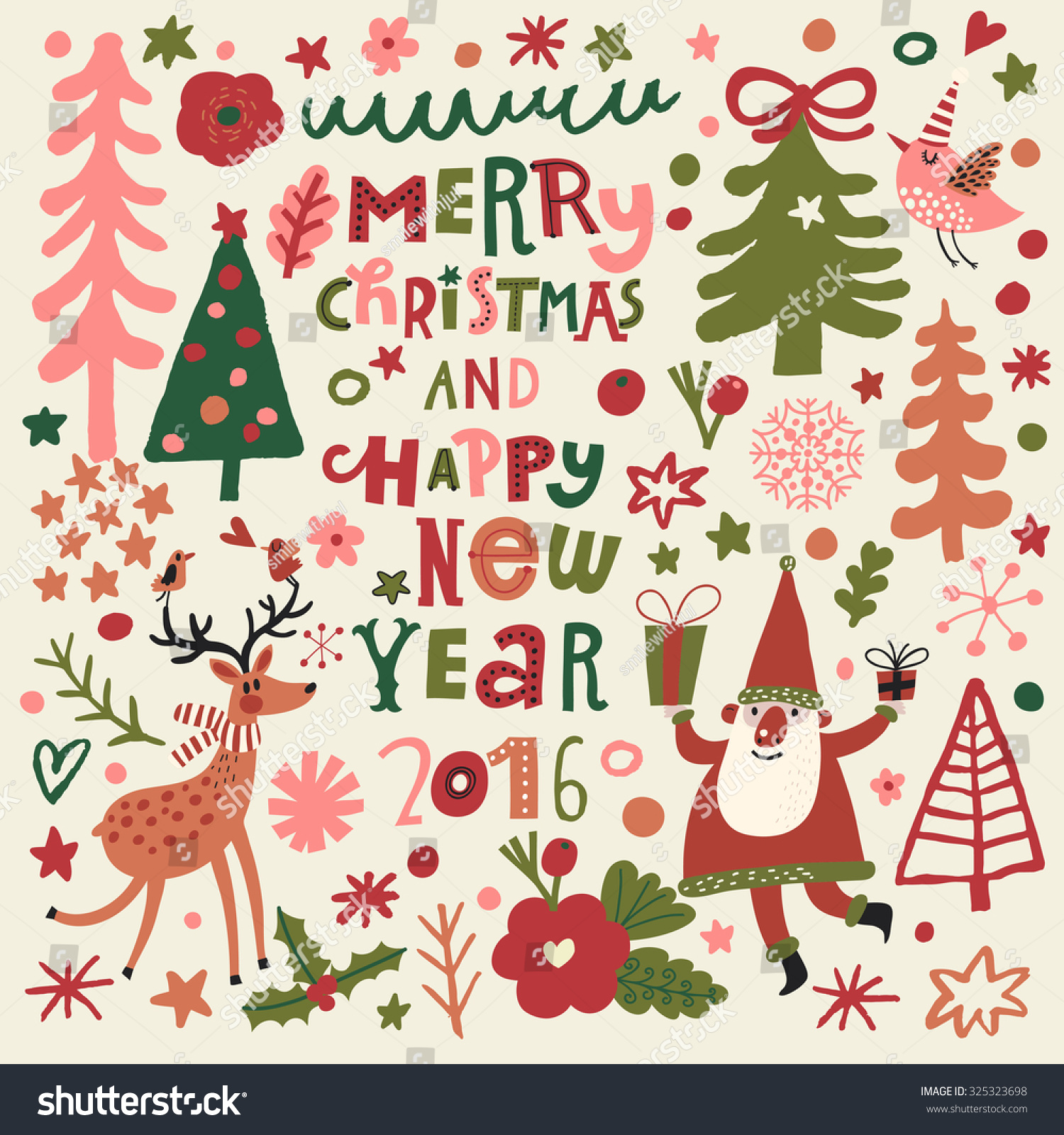 Merry christmas happy new year 2016 stock vector 325323698 for Wildlife christmas cards 2016
