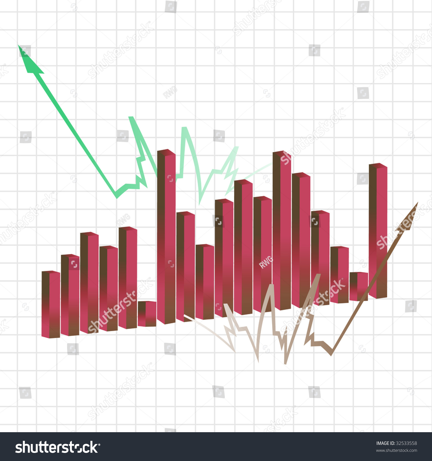 up and down graph of success or failure with white background - illustration