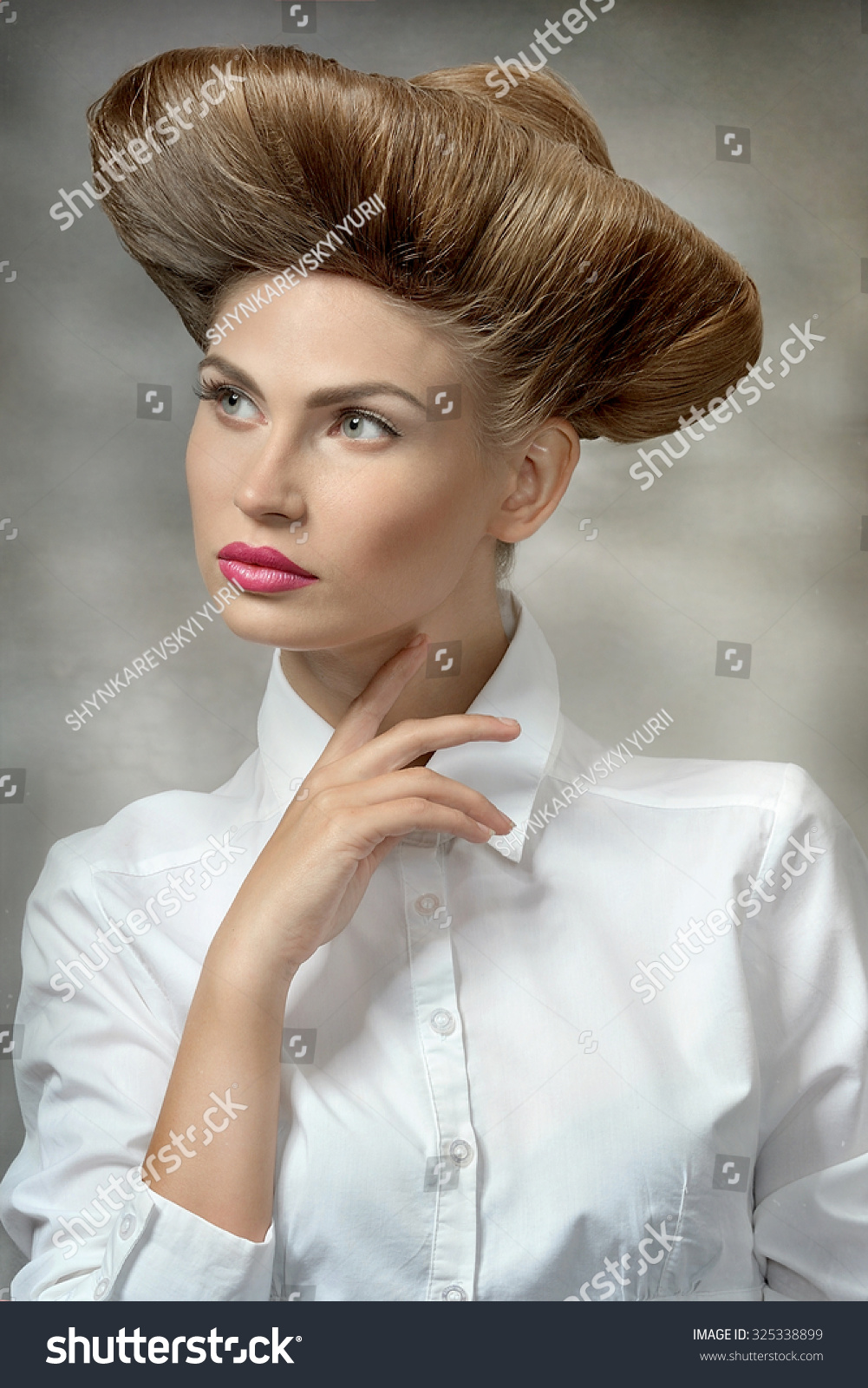 Girl White Shirt Unusual Hairstyle Looks Stock Photo Edit Now