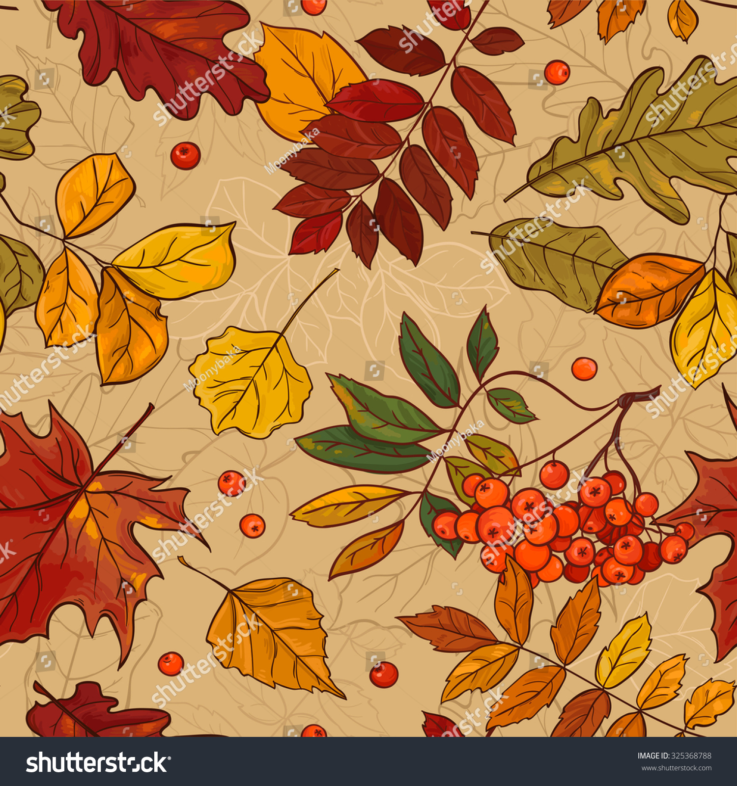 seamless autumn leaf pattern seamless patterns stock vector