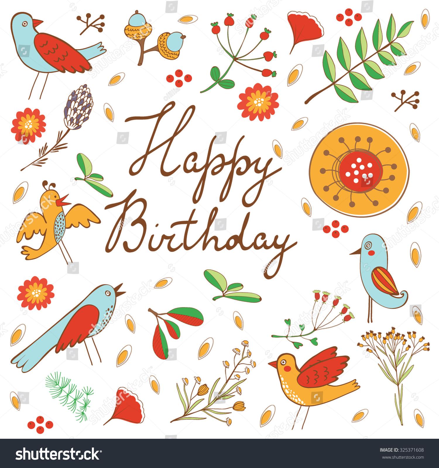 Happy birthday card flowers birds vector stock vector 325371608 happy birthday card with flowers and birds vector illustration izmirmasajfo
