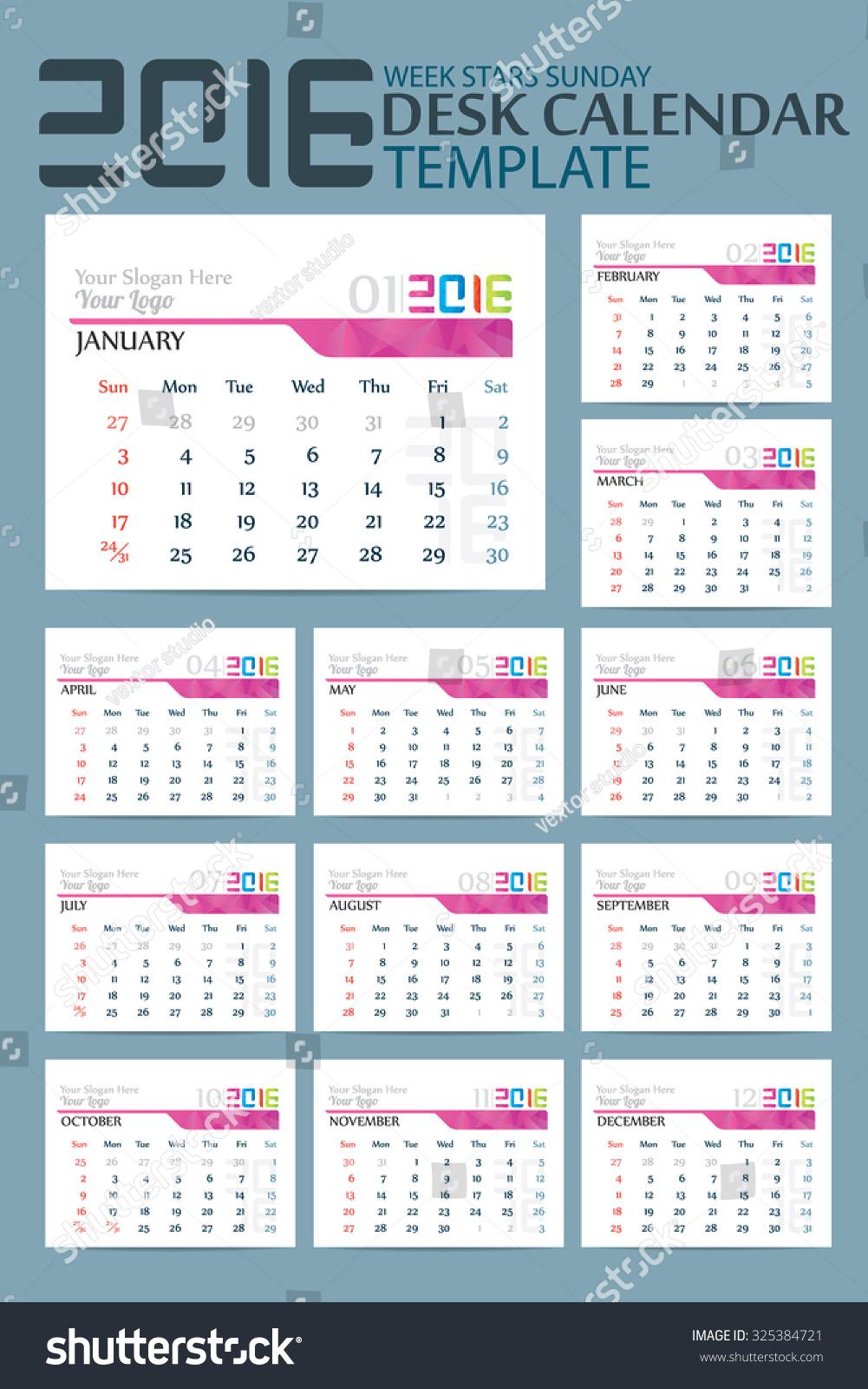 Calendar Template 2016 Vector Illustrator Stock Vector Royalty Free
