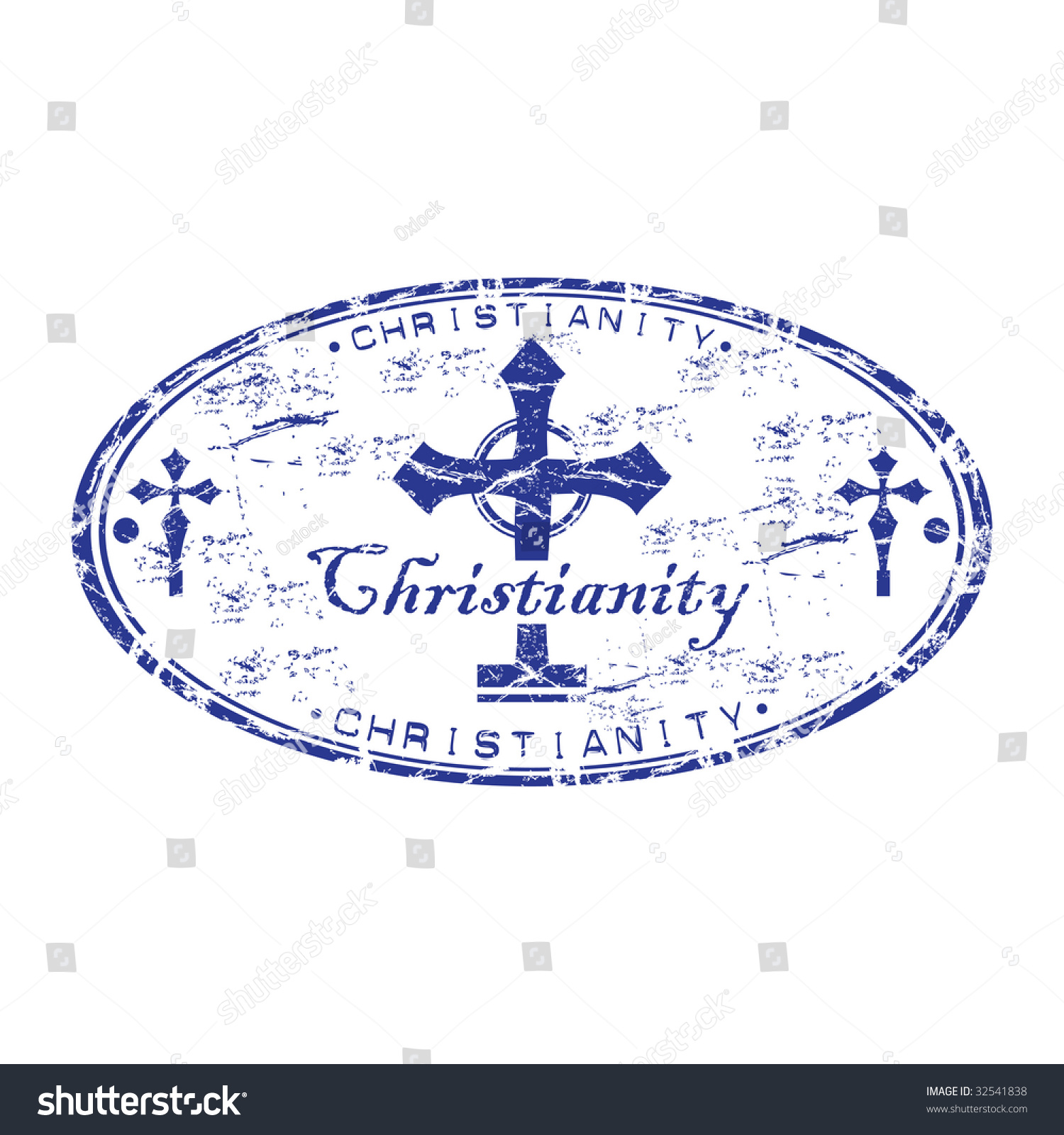 Grunge oval rubber stamp symbol christian stock vector 32541838 grunge oval rubber stamp with the symbol of christian cross and the word christianity written inside buycottarizona Choice Image