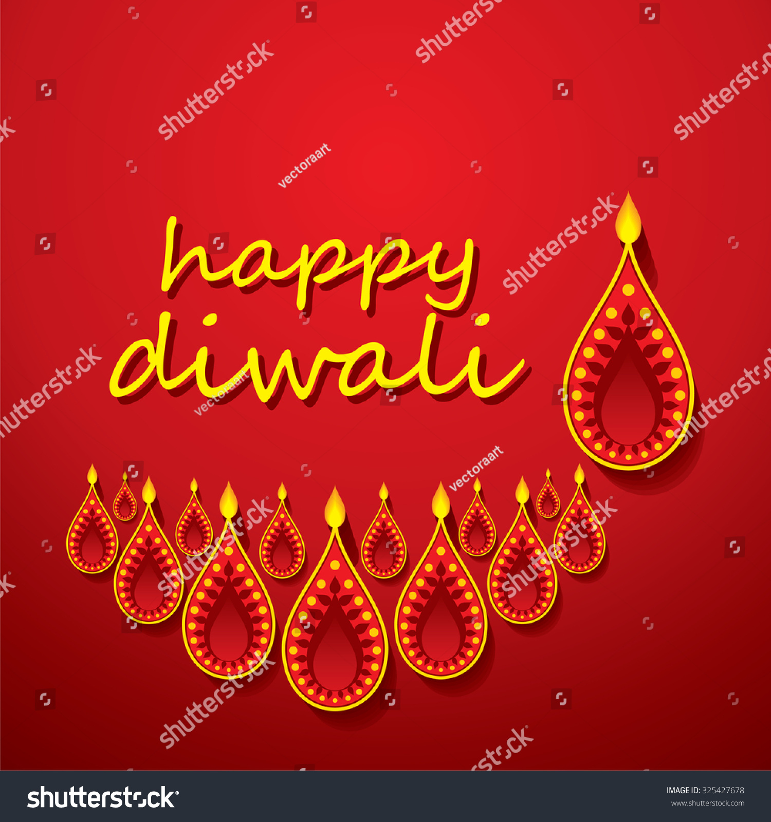 Vector Design Of Burning Diwali Diya For Greeting Card Ez Canvas