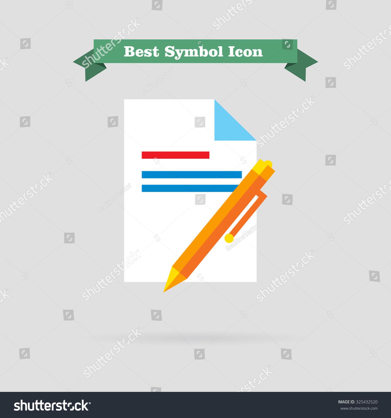 Icon text document pen stock vector 325432520 shutterstock icon of text document and pen biocorpaavc Choice Image