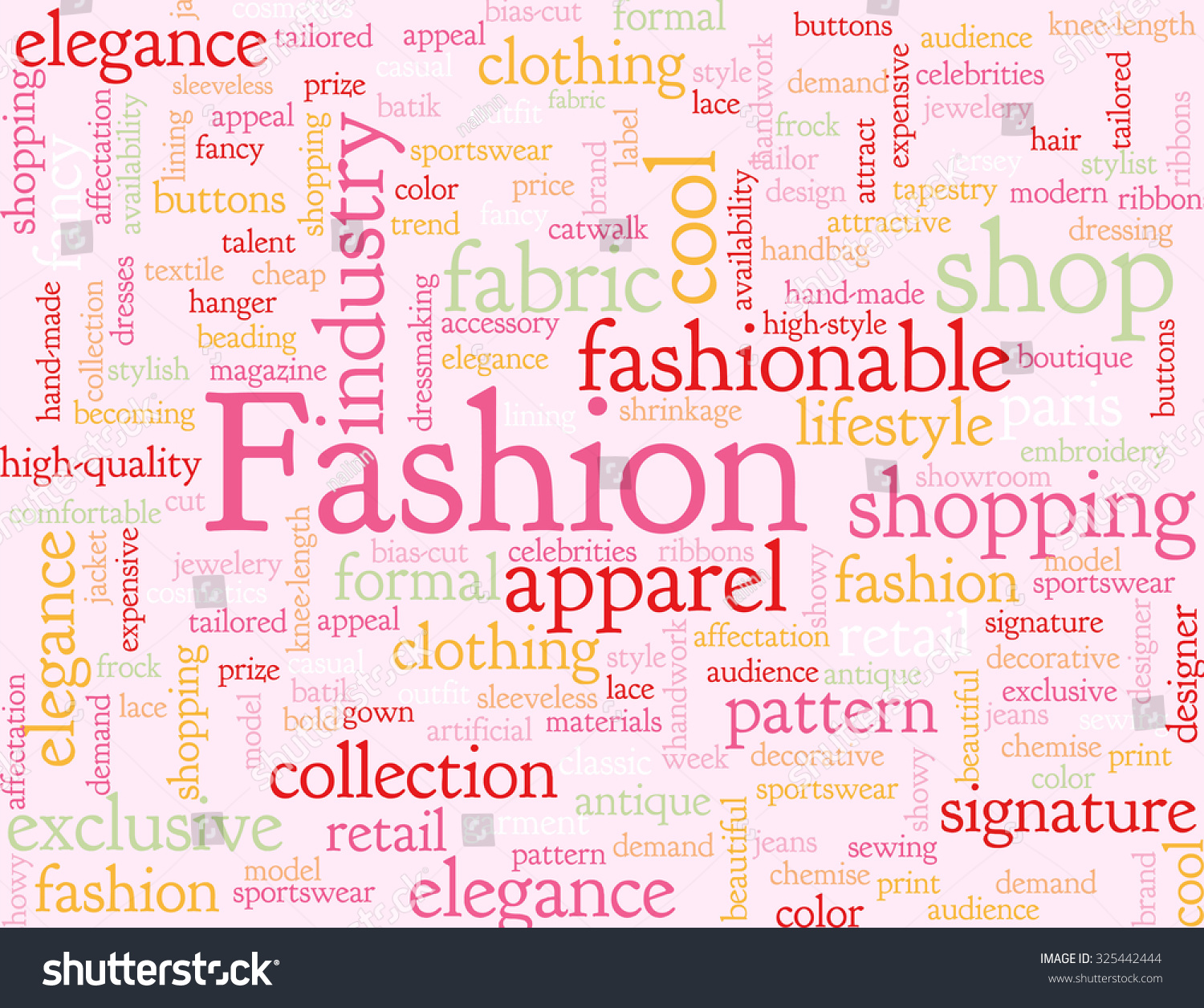 Pink Illustrated Background Words Associated Fashion Stock Illustration 325442444