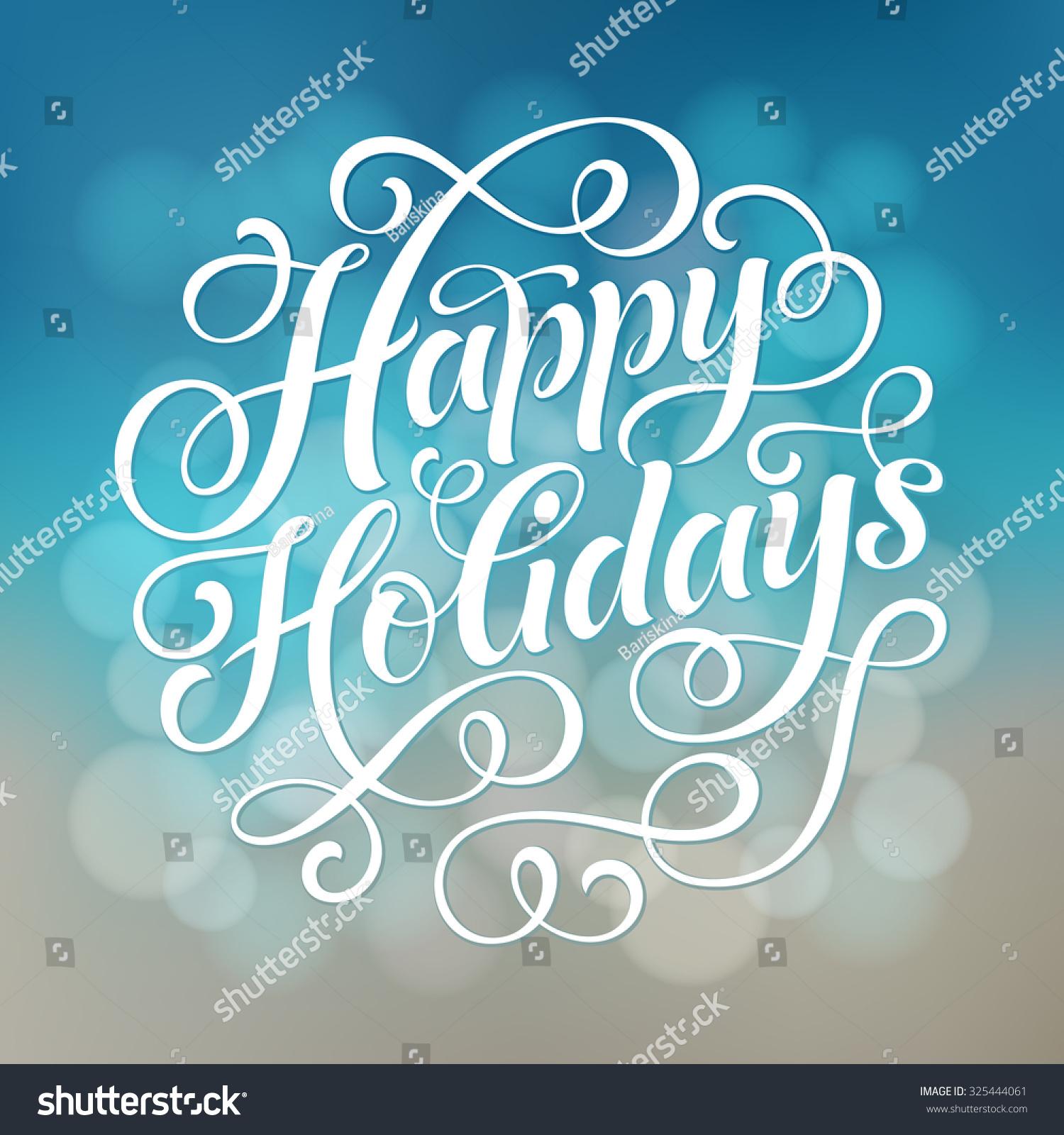 Holidays: Happy Holidays Vector Text On Defocus Stock Vector