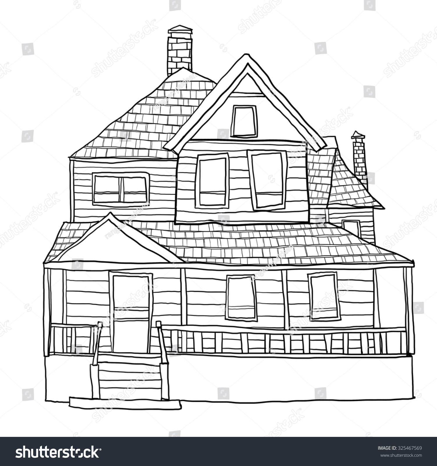 Vintage House Line Art Cute Illustration