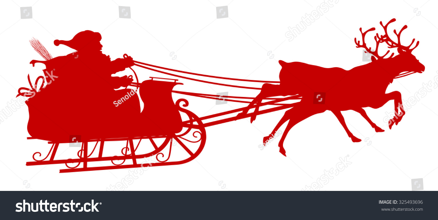 Santa Claus With Reindeer Sleigh - Red Silhouette ...