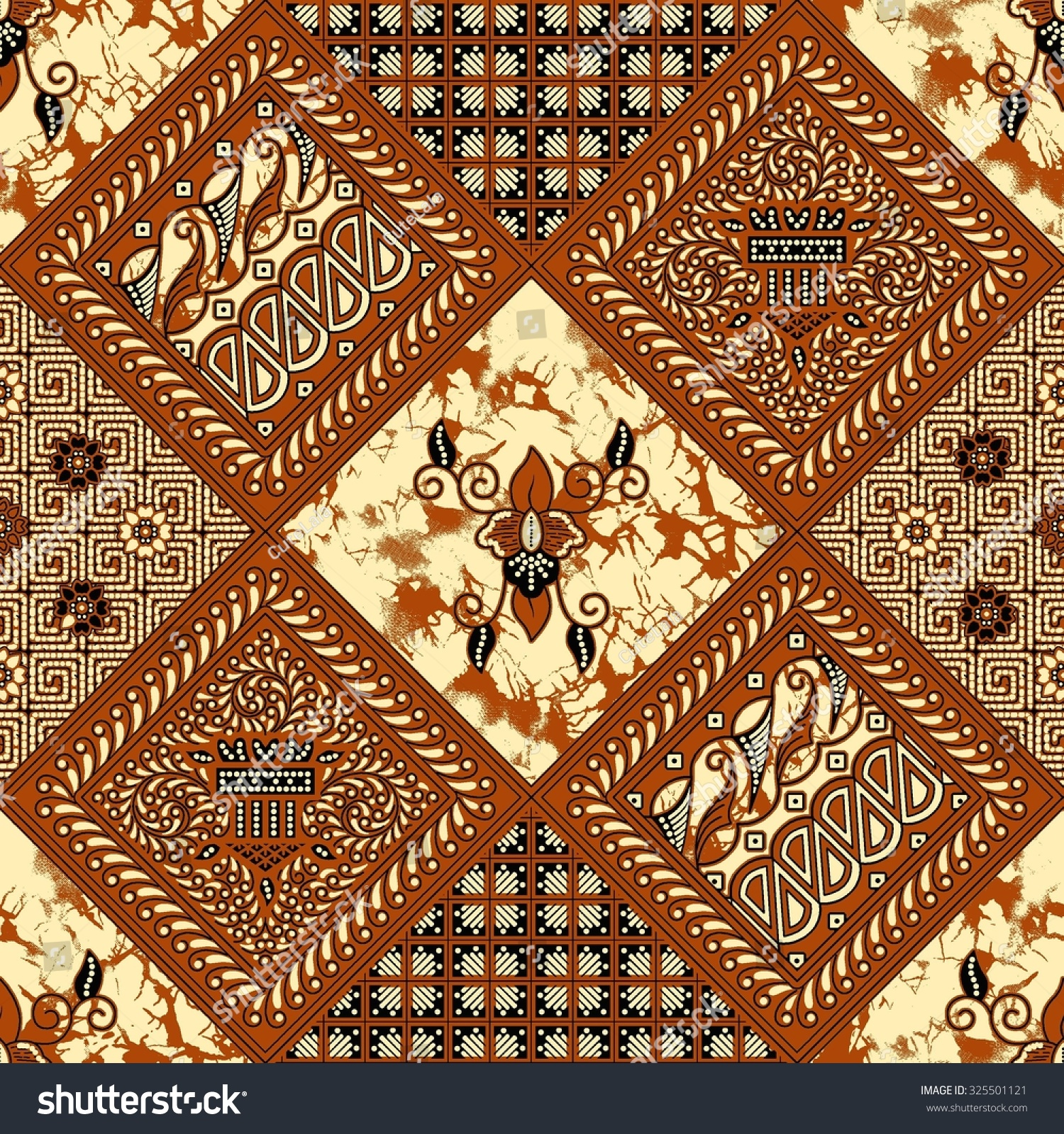 Seamless Javanese Batik Pattern.Able To Repeat For Textile