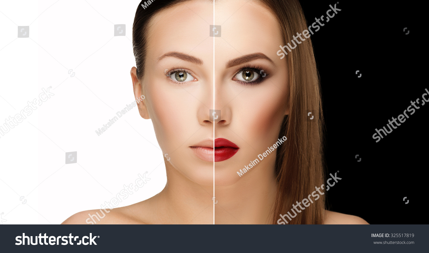 Comparison Portraits Beautiful Woman Without Makeup Stock Photo 325517819 - Shutterstock